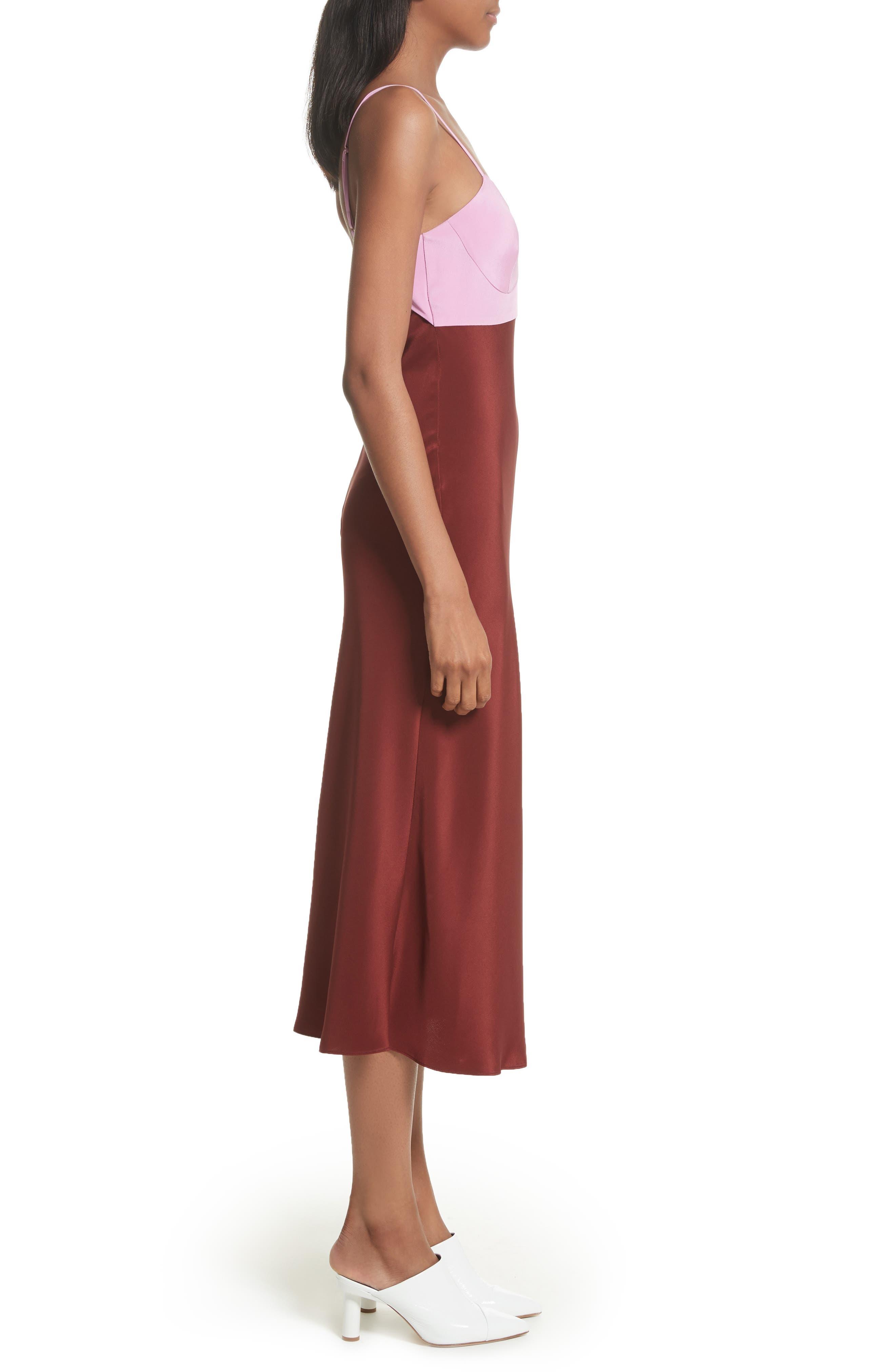 Silk Lingerie Dress,                             Alternate thumbnail 3, color,                             Burnt Red Multi