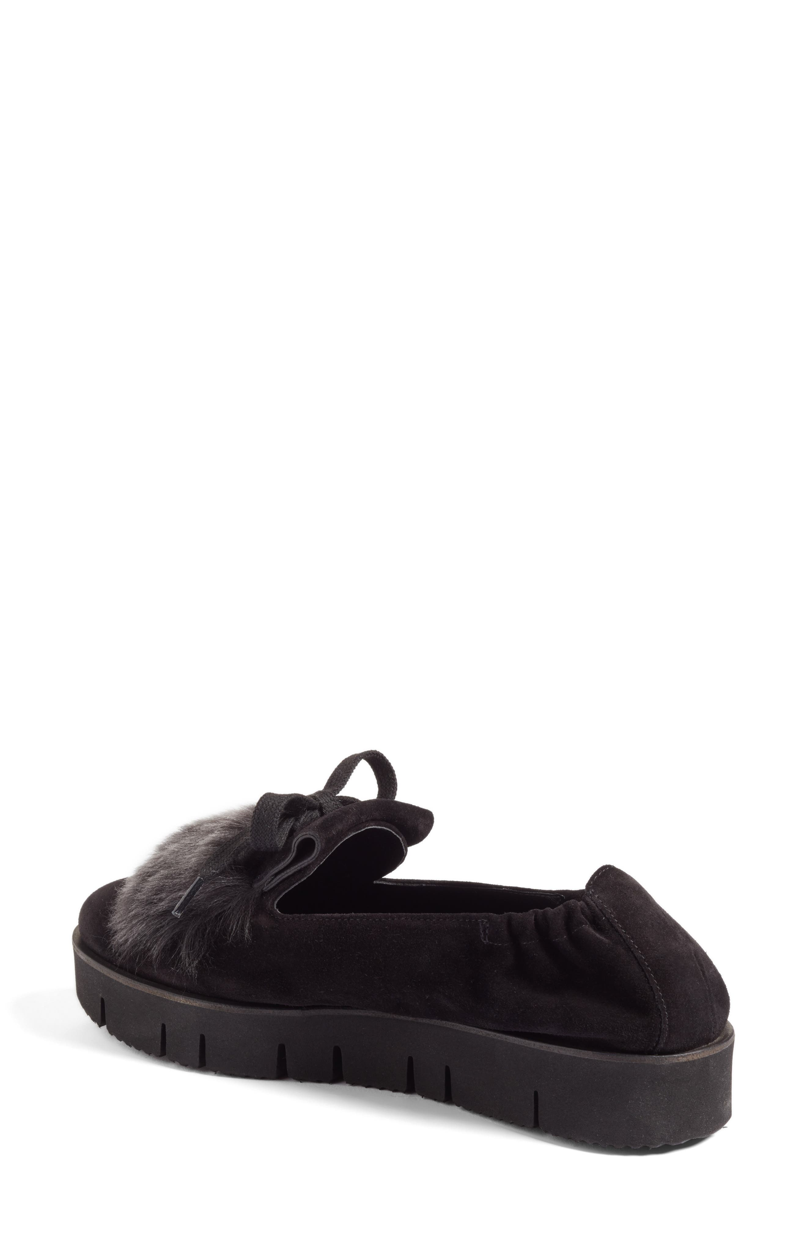 Kennel & Schmenger Malu Suede & Genuine Shearling Slip-On Sneaker,                             Alternate thumbnail 2, color,                             Black