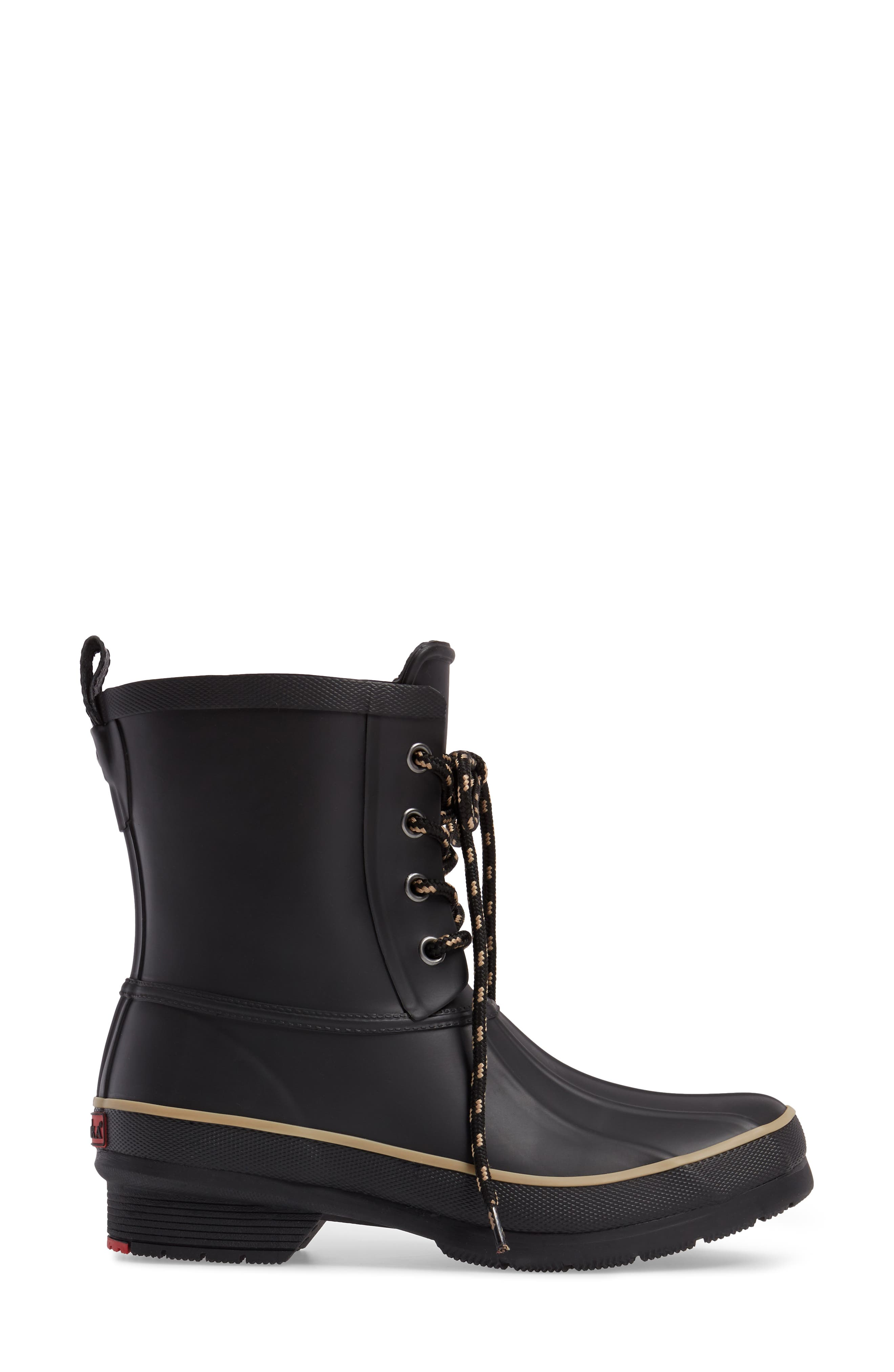 Classic Lace-Up Duck Boot,                             Alternate thumbnail 3, color,                             Black