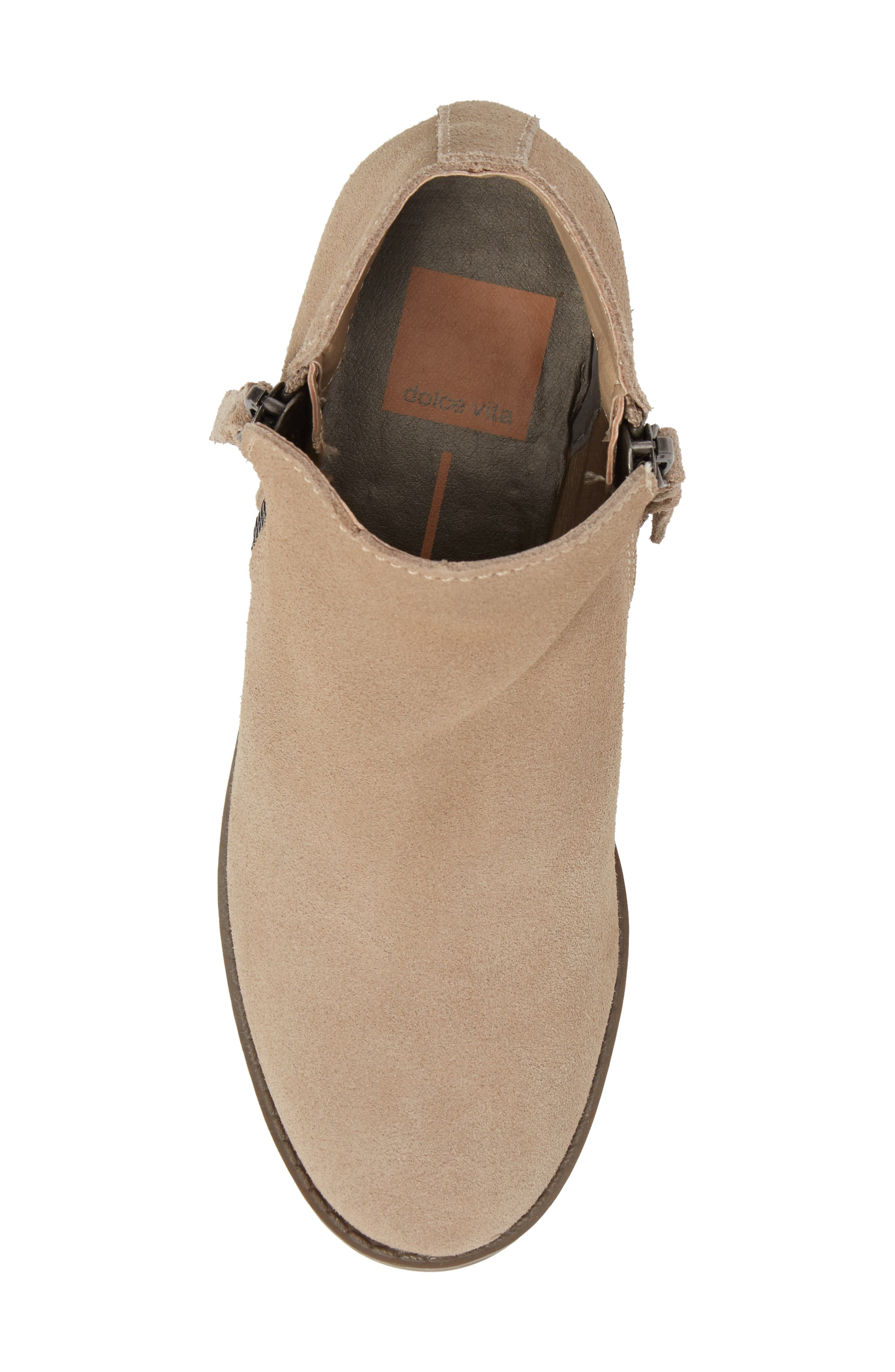 Sia Double-Zip Bootie,                             Alternate thumbnail 5, color,                             Sand Suede