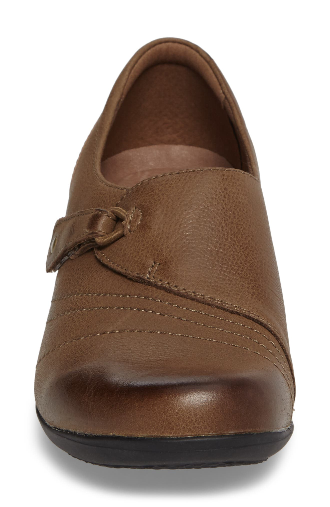 Franny Loafer,                             Alternate thumbnail 4, color,                             Taupe Burnished Nappa Leather