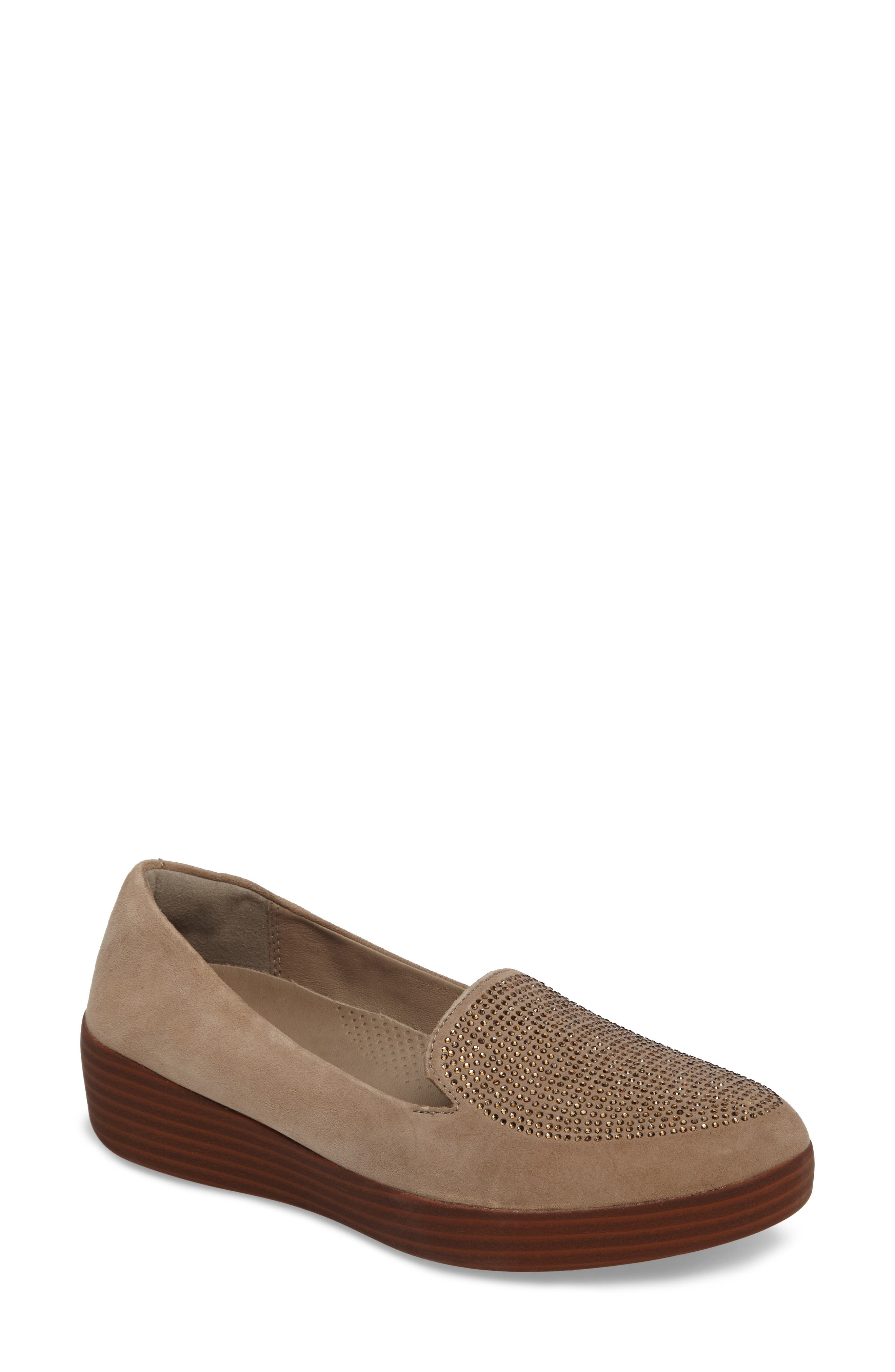 Sparkly Sneakerloafer Slip-On,                             Main thumbnail 1, color,                             Desert Stone Suede