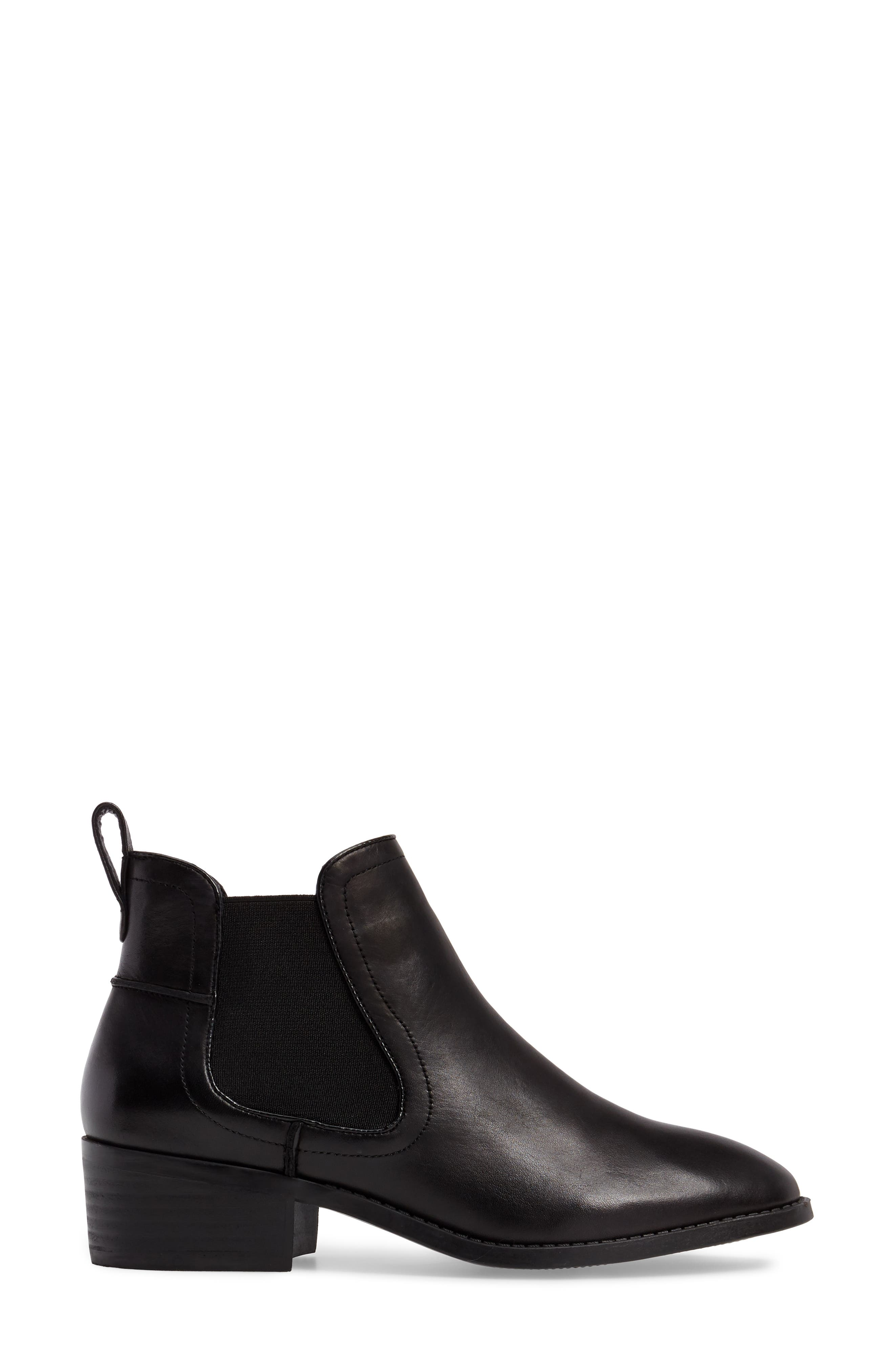 Dicey Chelsea Boot,                             Alternate thumbnail 3, color,                             Black Leather