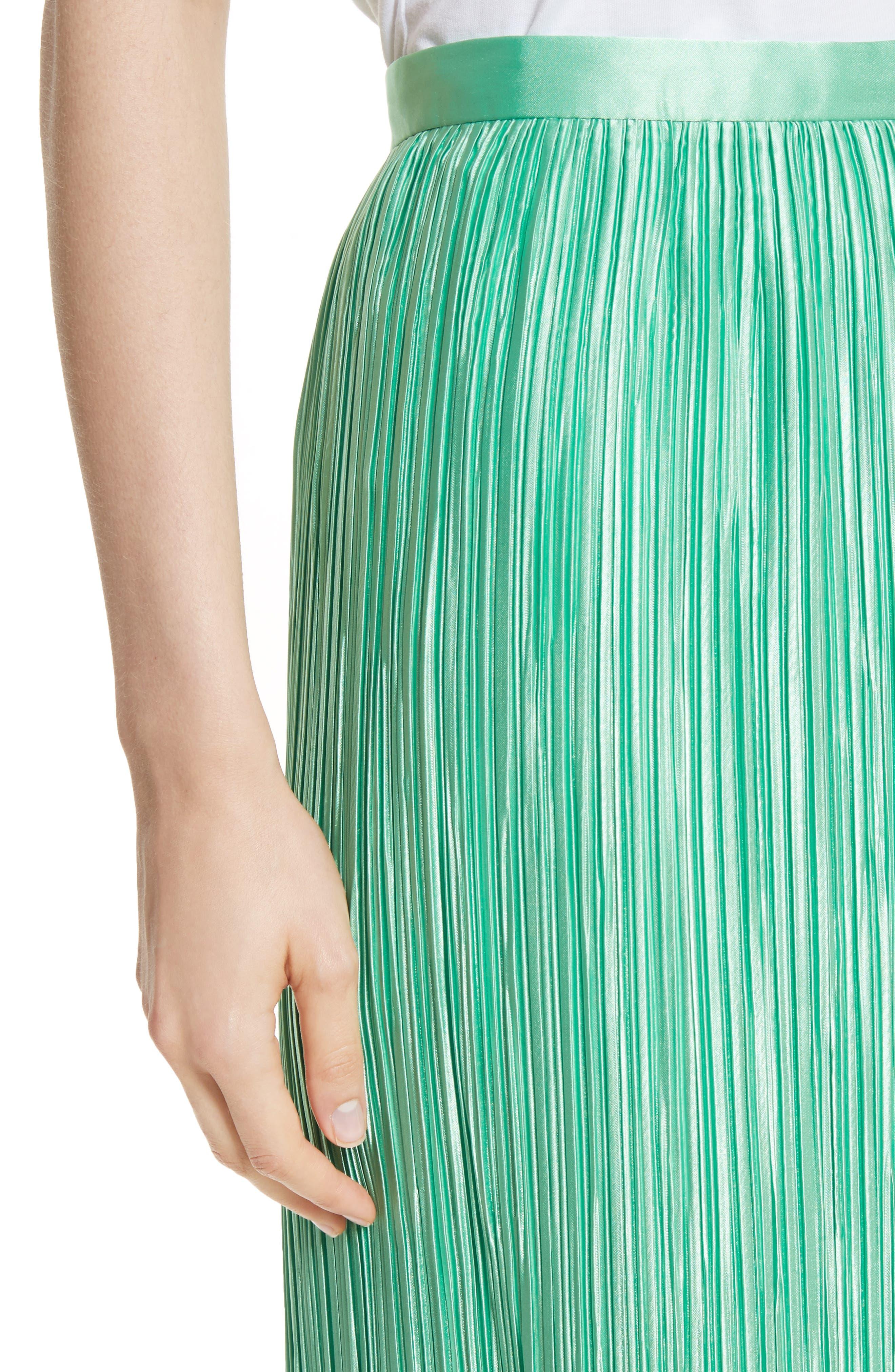 Plissé Pleated Midi Skirt,                             Alternate thumbnail 4, color,                             Kelly Green
