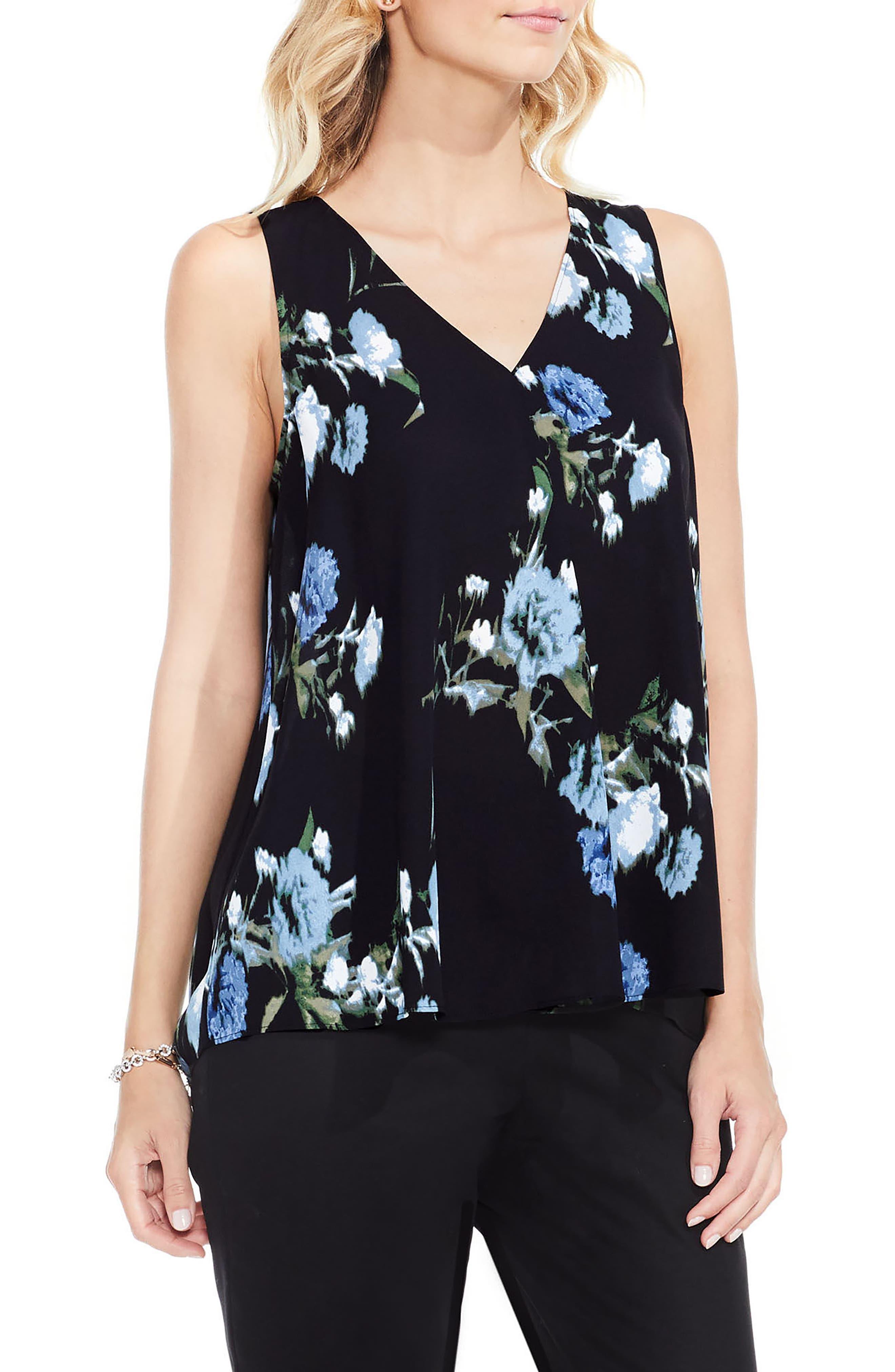 Windswept Bouquet Pleat Front Blouse,                         Main,                         color, Cameo Blue