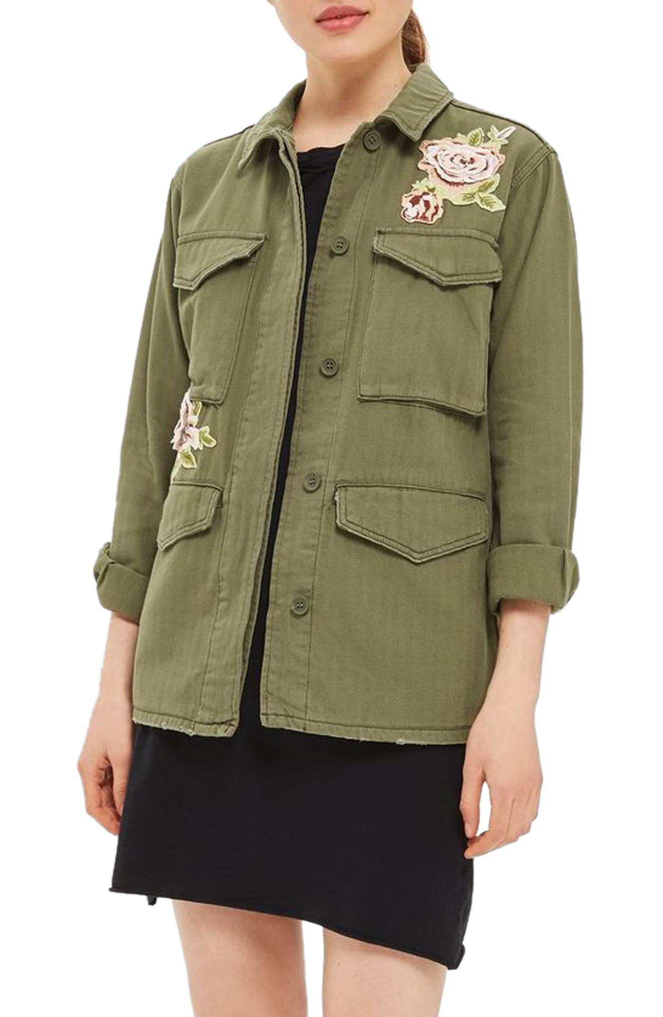 Topshop Ethan Rose Appliqué Shirt Jacket