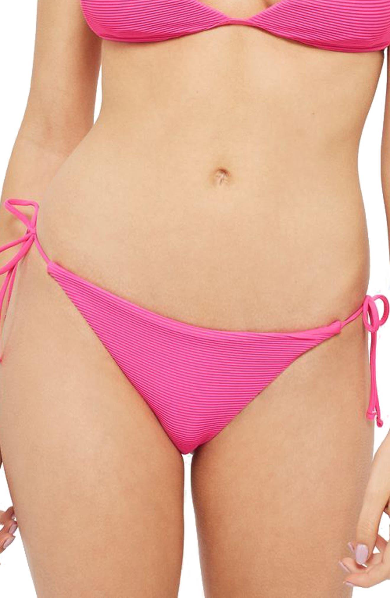 TOPSHOP Ribbed Tie Bikini Bottoms