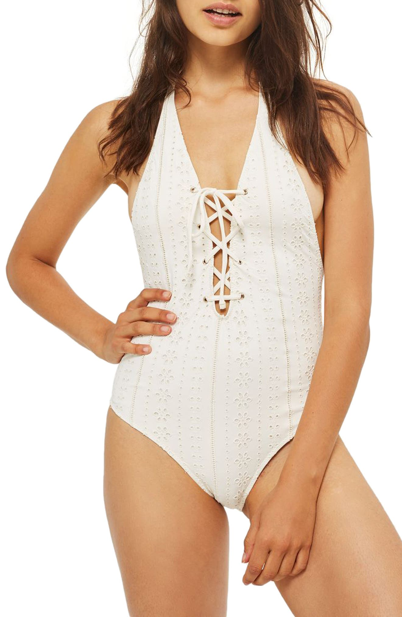 Topshop Lace-Up Broderie One-Piece Swimsuit