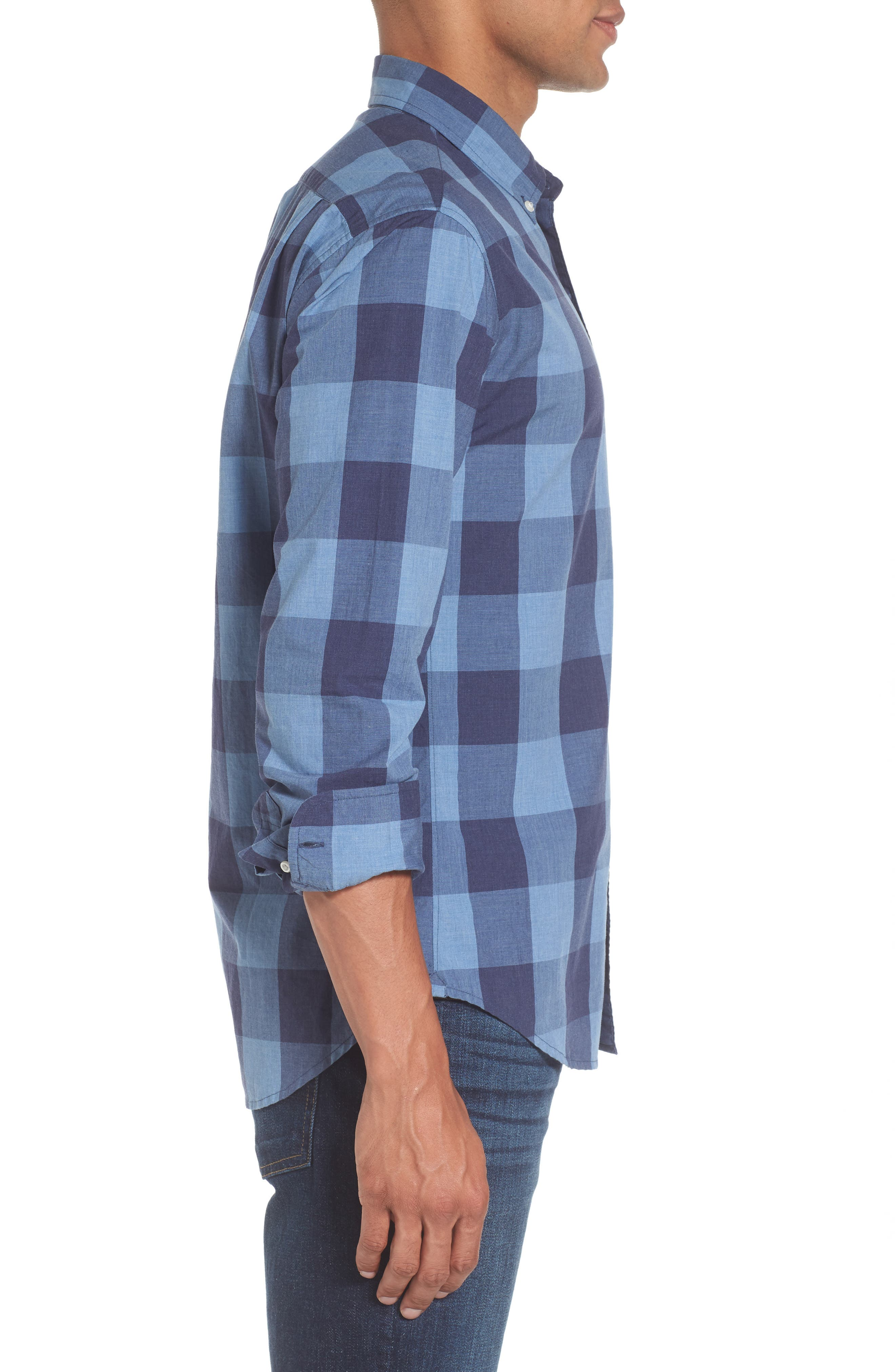 Slim Fit Washed Check Sport Shirt,                             Alternate thumbnail 3, color,                             Blue Grey Plaid