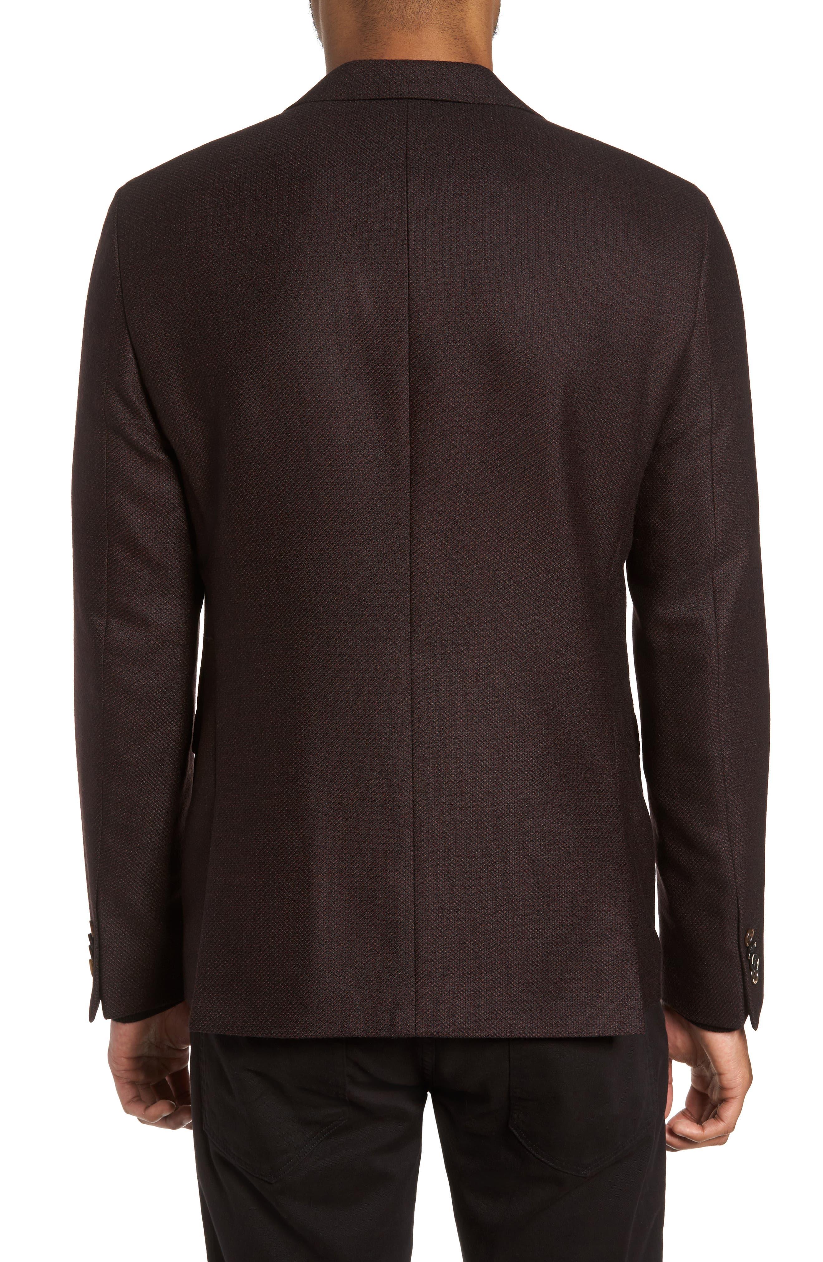 Trim Fit Wool Sport Coat,                             Alternate thumbnail 2, color,                             Bordeaux