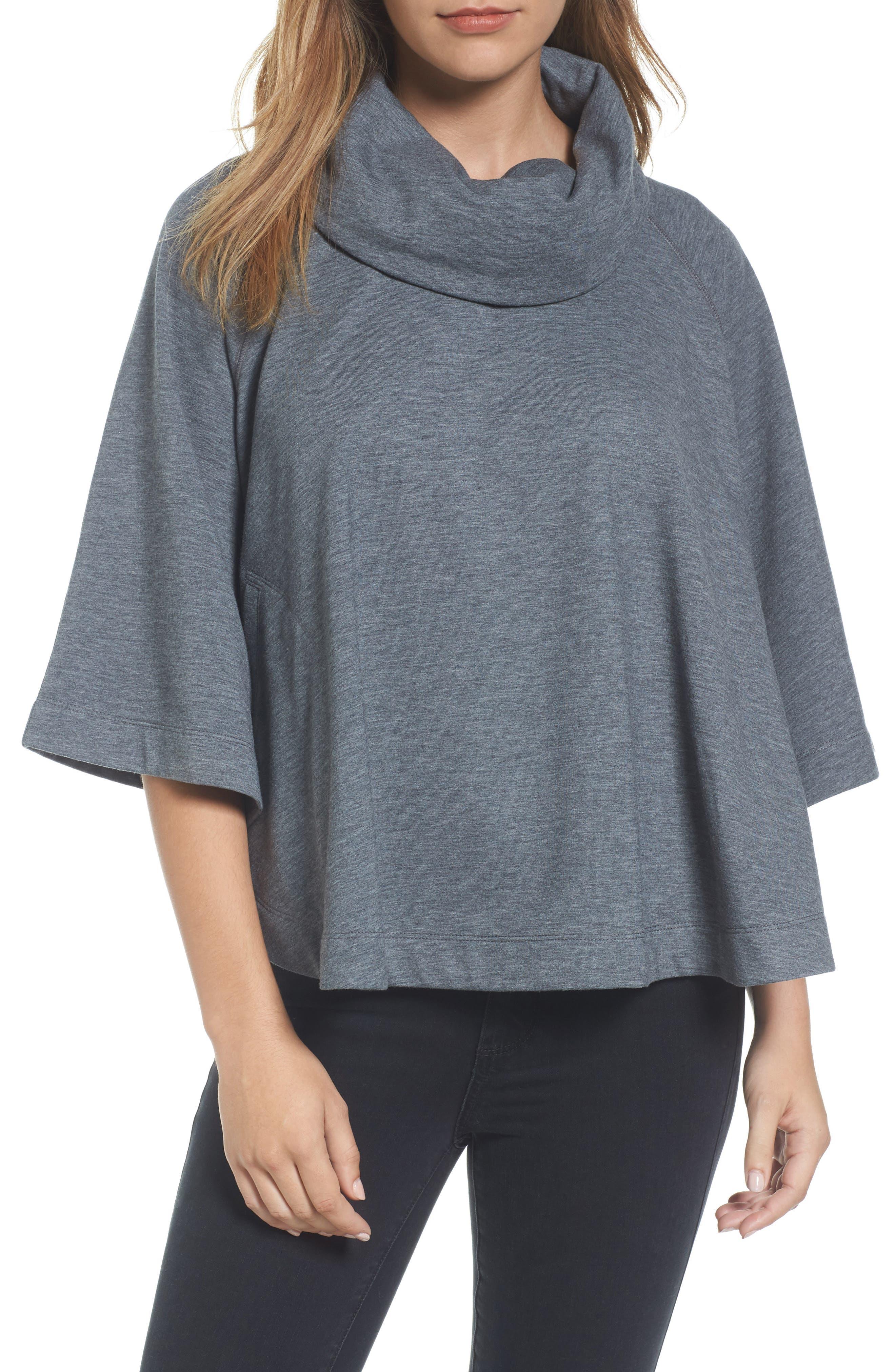 Cowl Neck Sweatshirt,                         Main,                         color, Heather Dark Grey