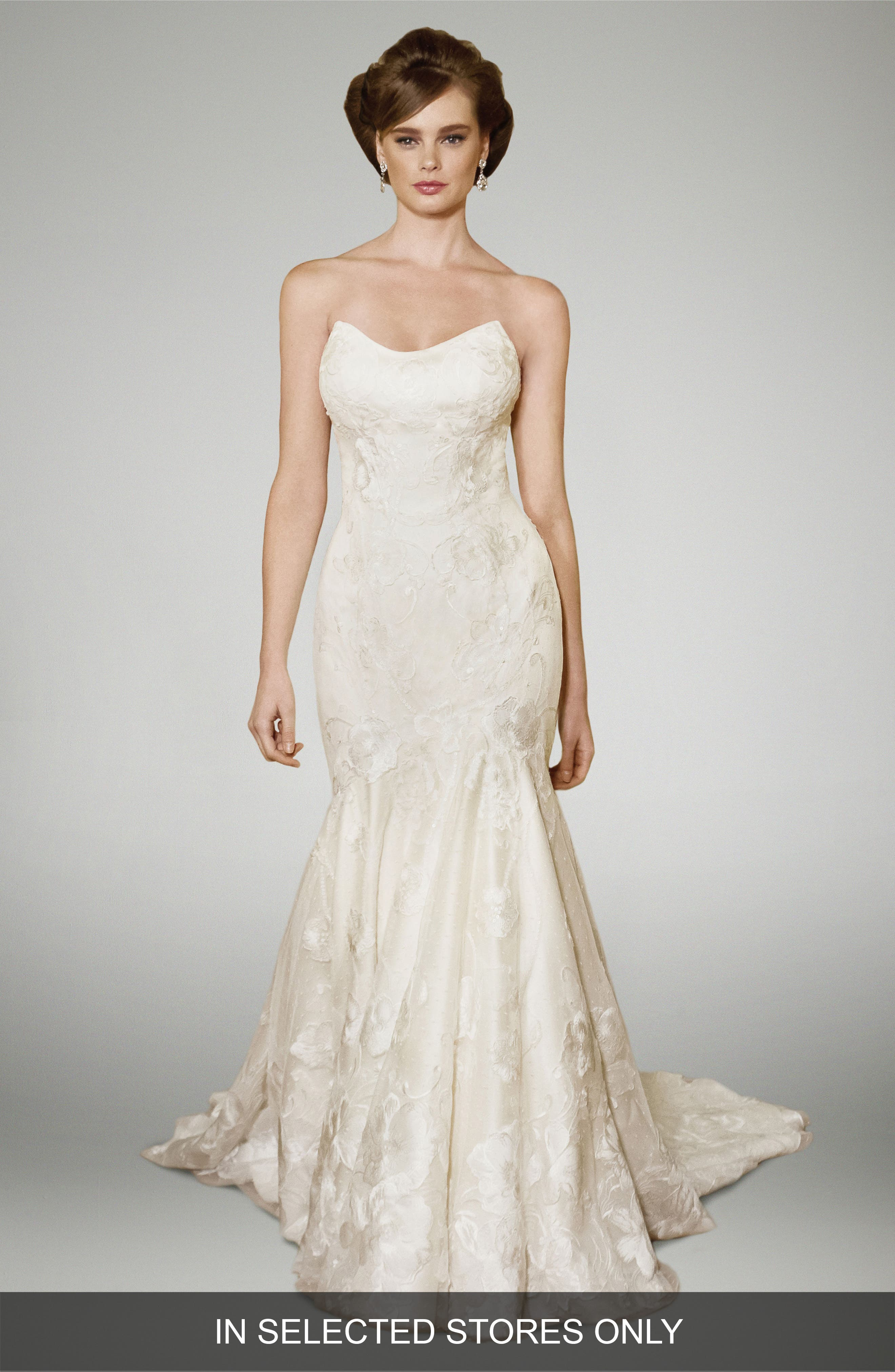 Heather Strapless Silk Trumpet Gown,                         Main,                         color, Champagne/ Offwhite