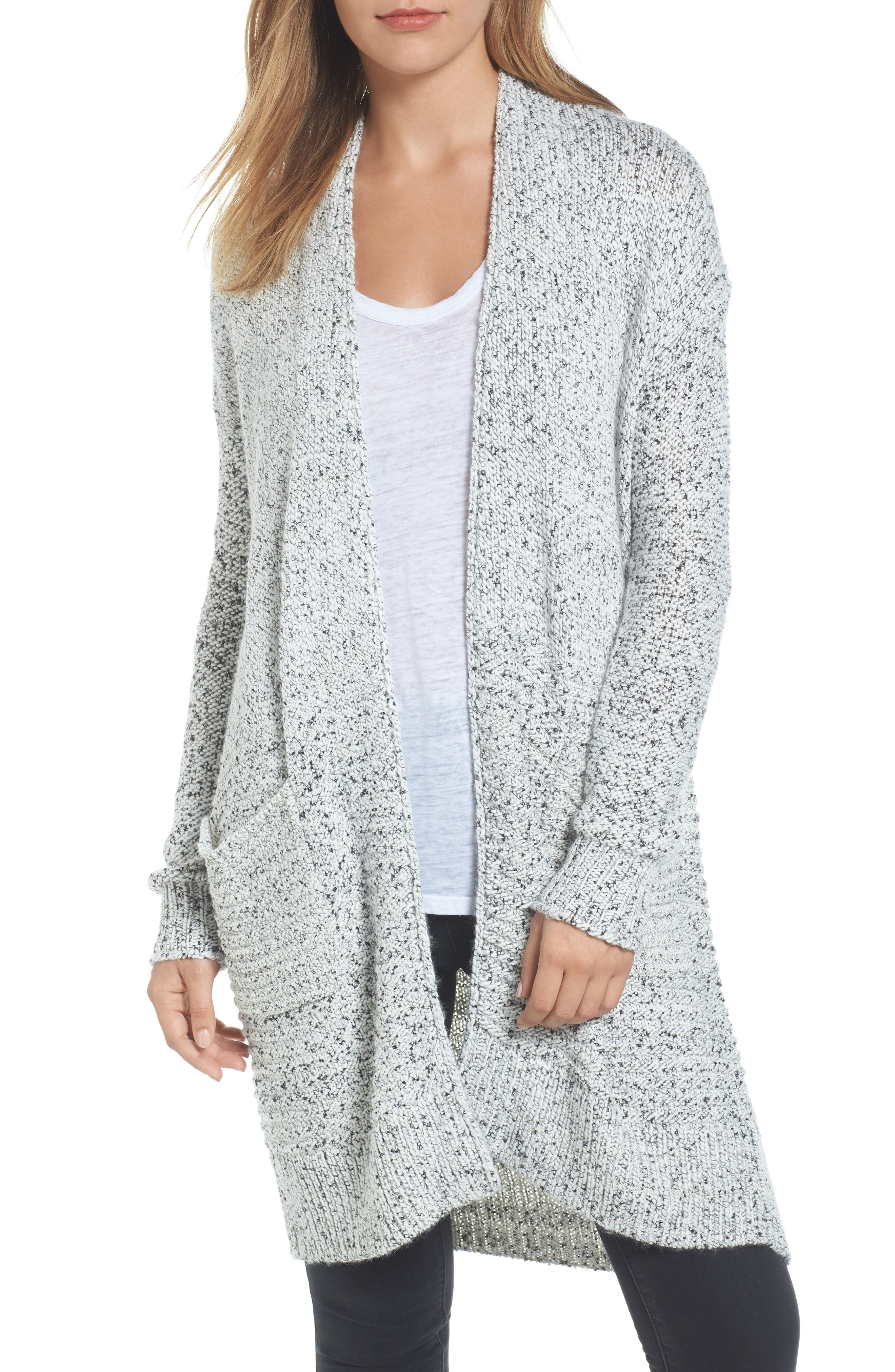 Caslon® Mixed Stitch Long Cardigan (Regular & Petite)