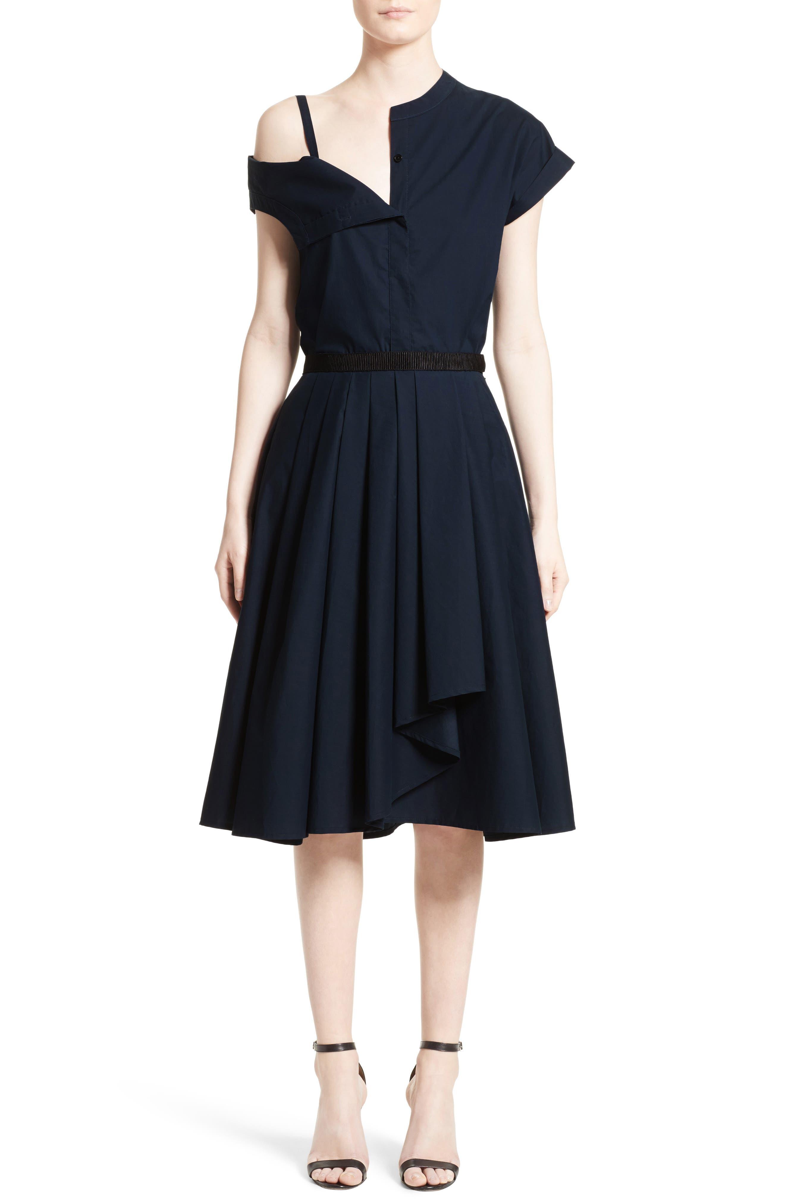 Ruffle Cotton A-Line Skirt,                             Alternate thumbnail 7, color,                             Navy
