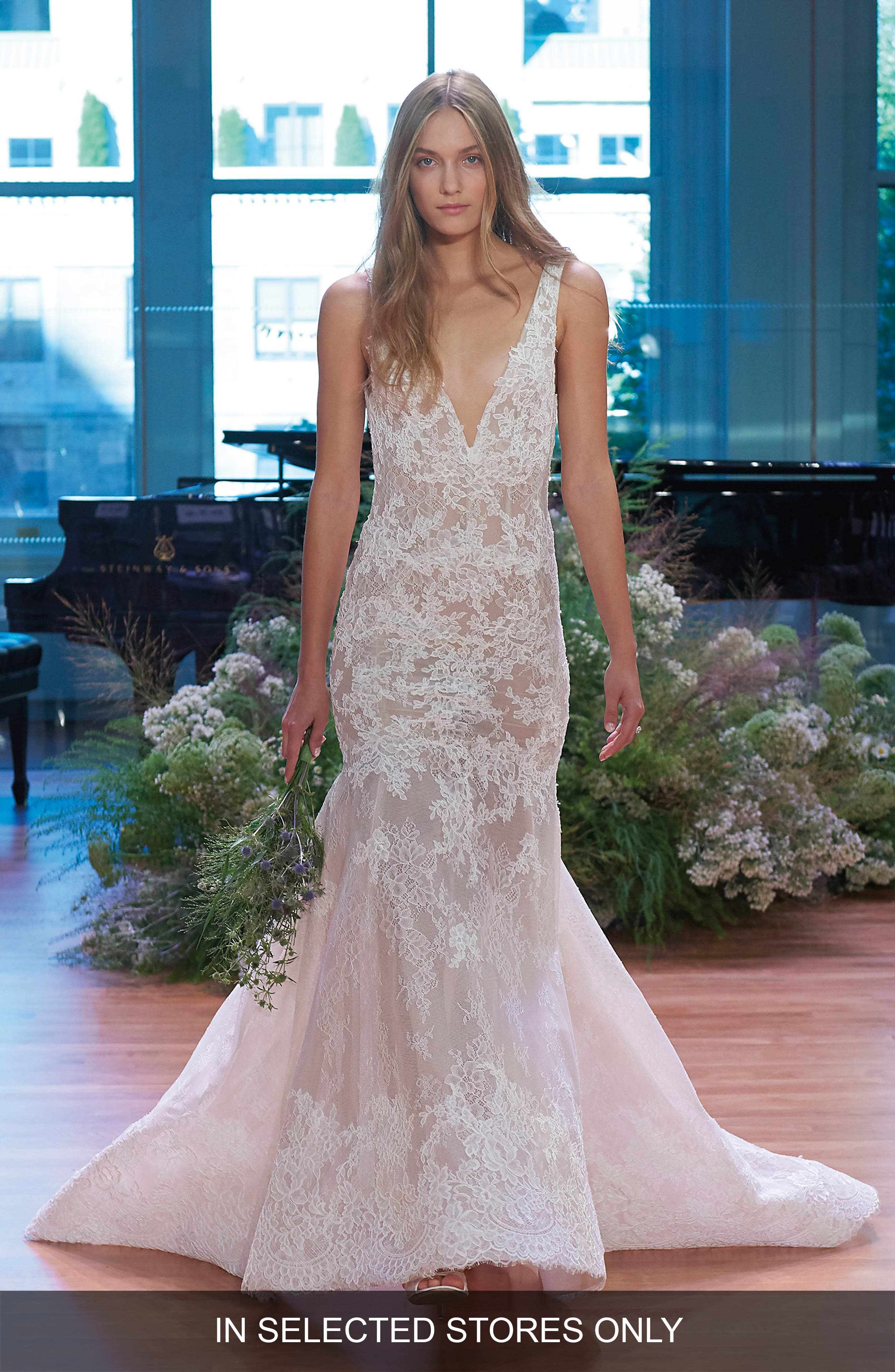Monique Lhuillier Keaton Plunge Lace Trumpet Gown (In Selected Stores Only)