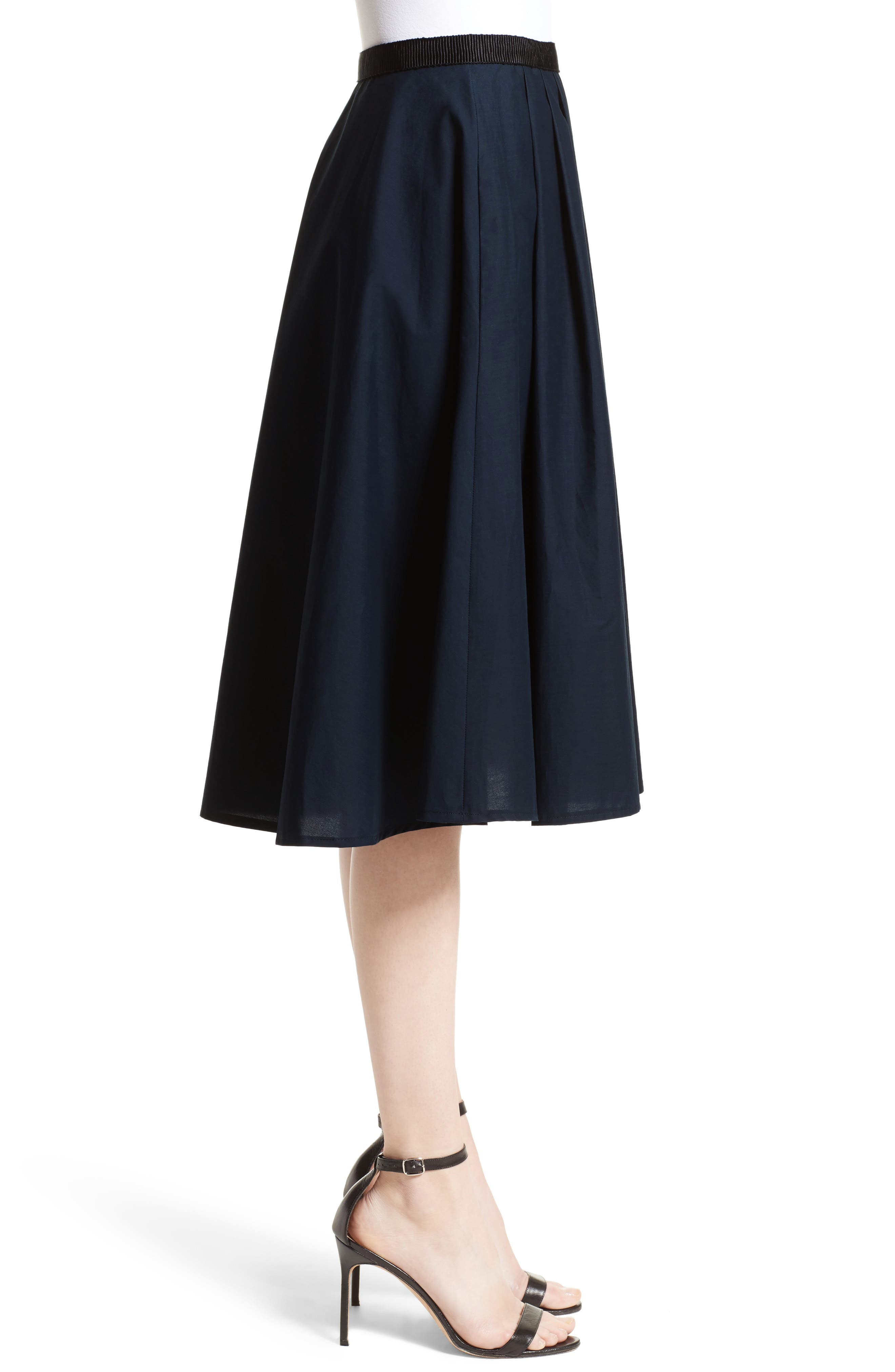 Ruffle Cotton A-Line Skirt,                             Alternate thumbnail 6, color,                             Navy