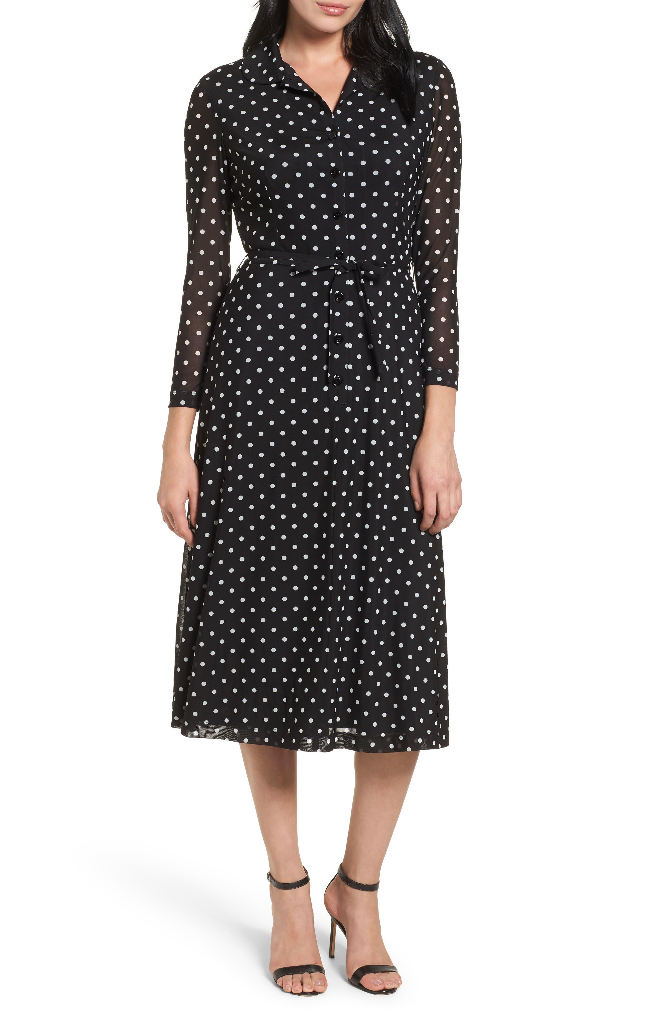 Polka Dot Shirt Dress,                             Main thumbnail 1, color,                             Black/ White