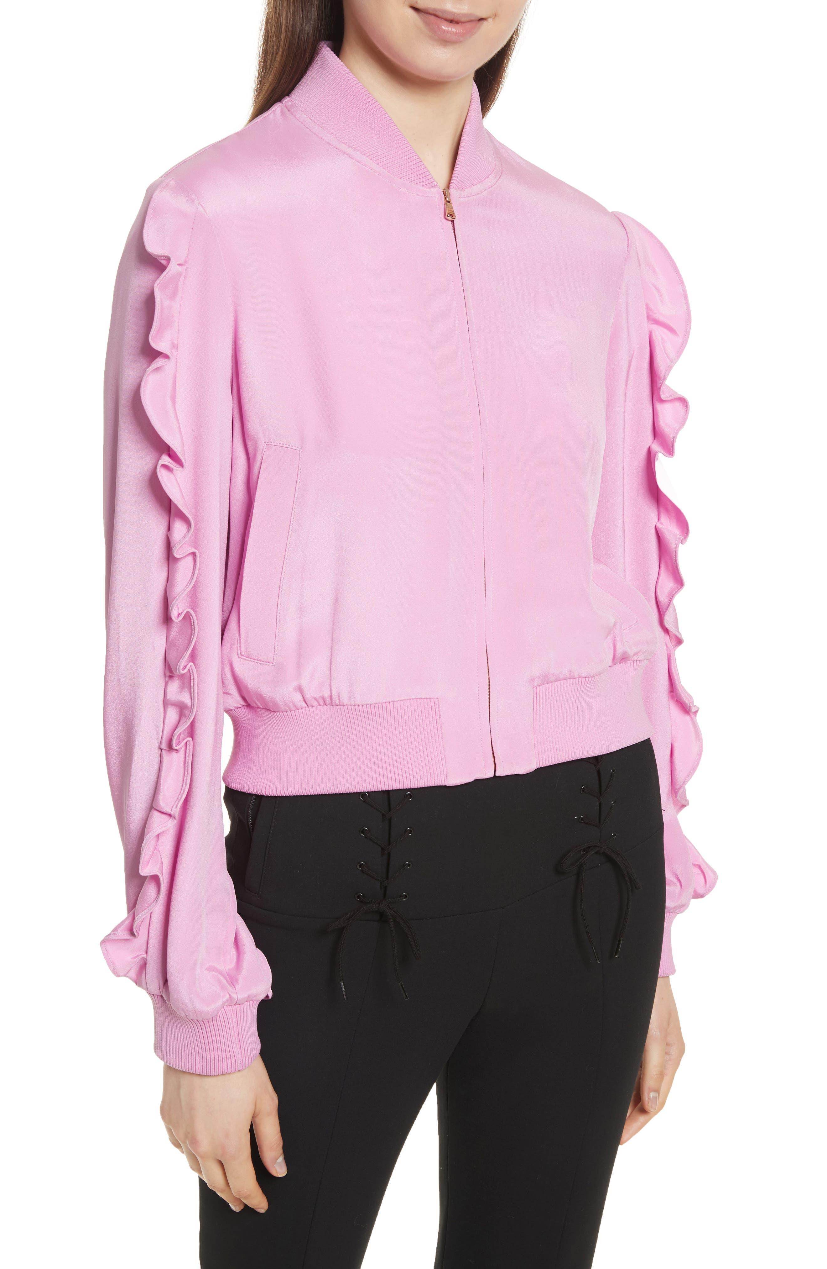 Tibi Ruffled Silk Bomber Jacket