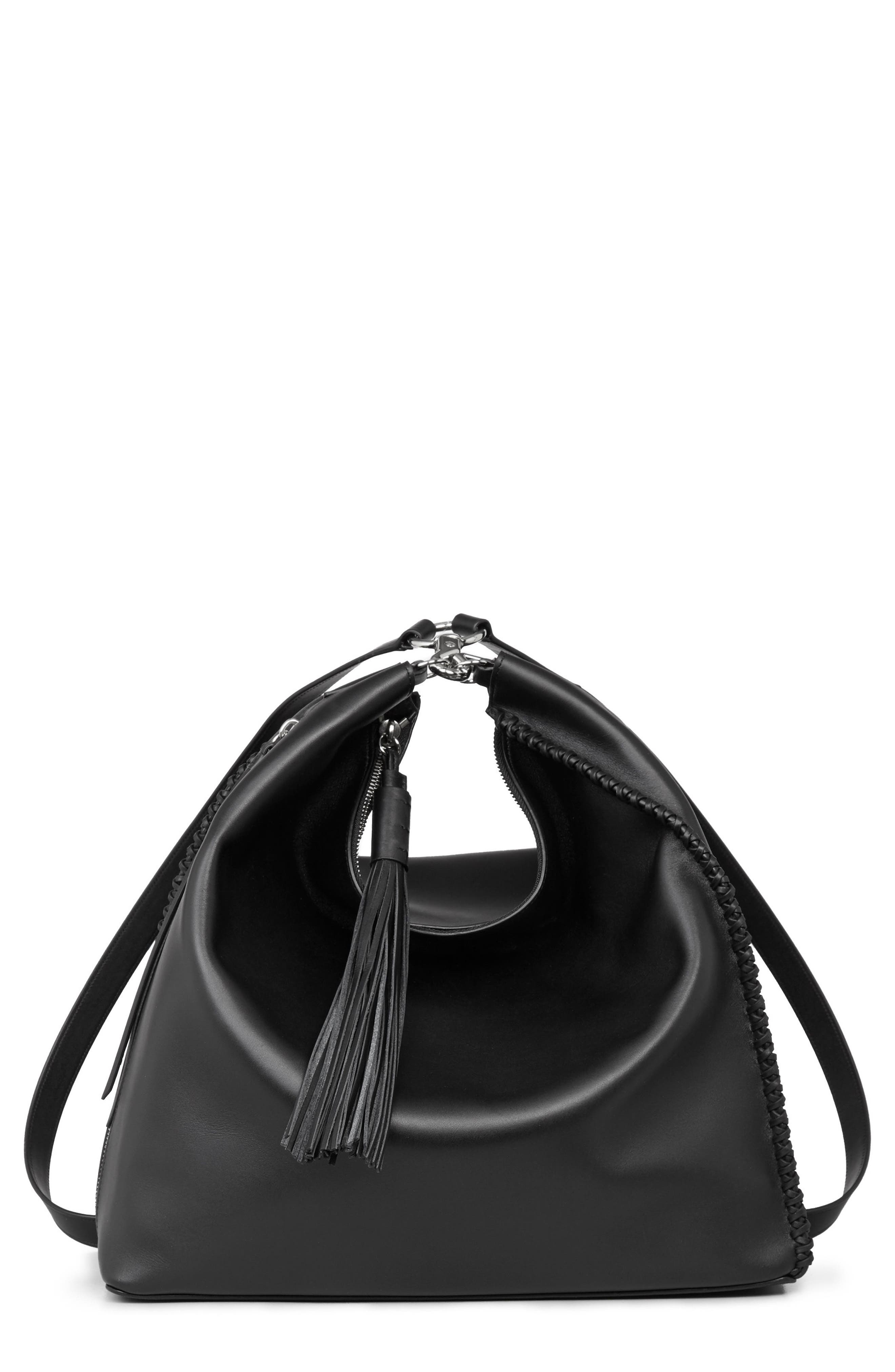 Pearl Convertible Leather Backpack,                             Main thumbnail 1, color,                             Black
