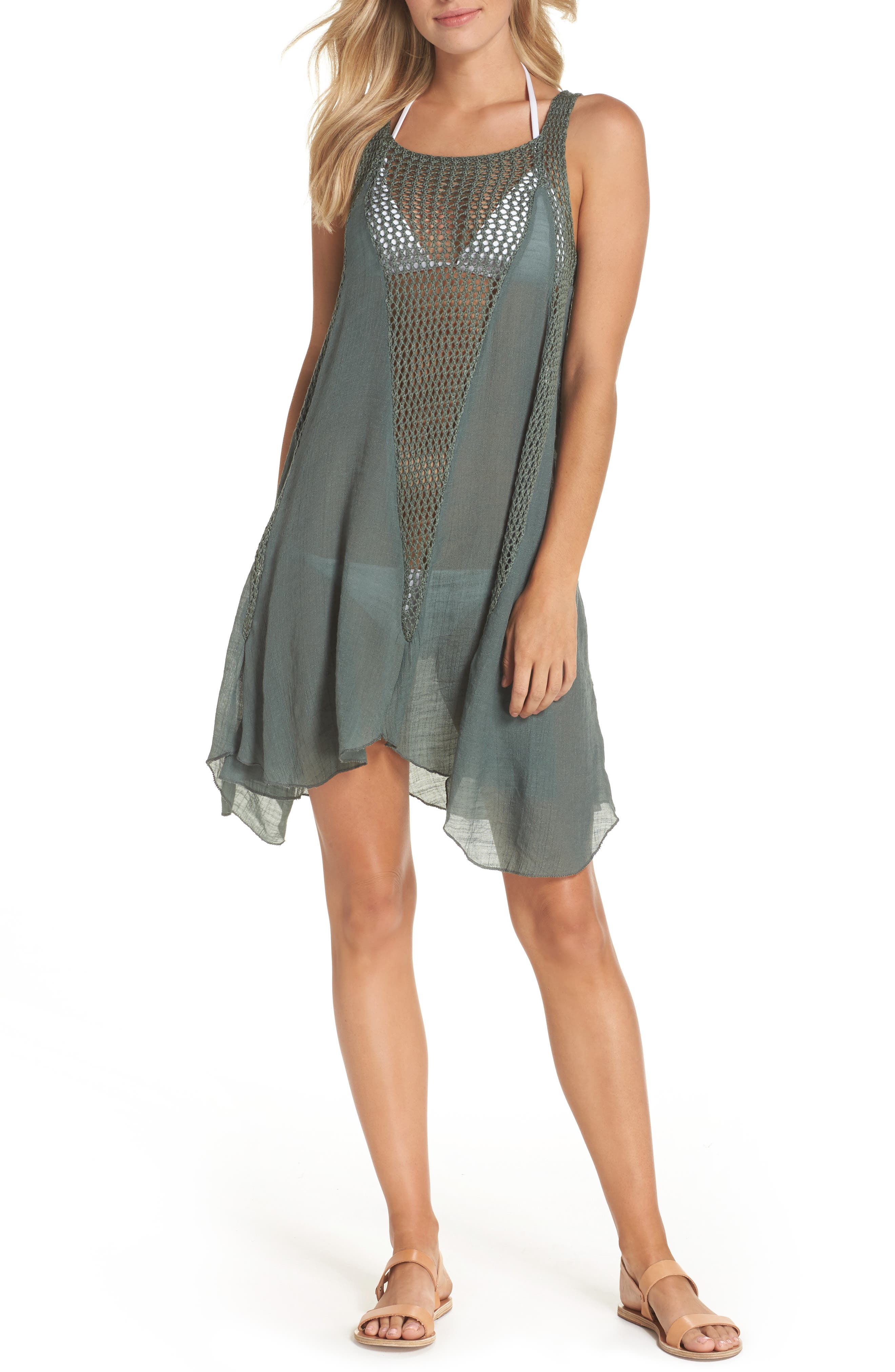 Crochet Inset Cover-Up Dress,                         Main,                         color, Olive