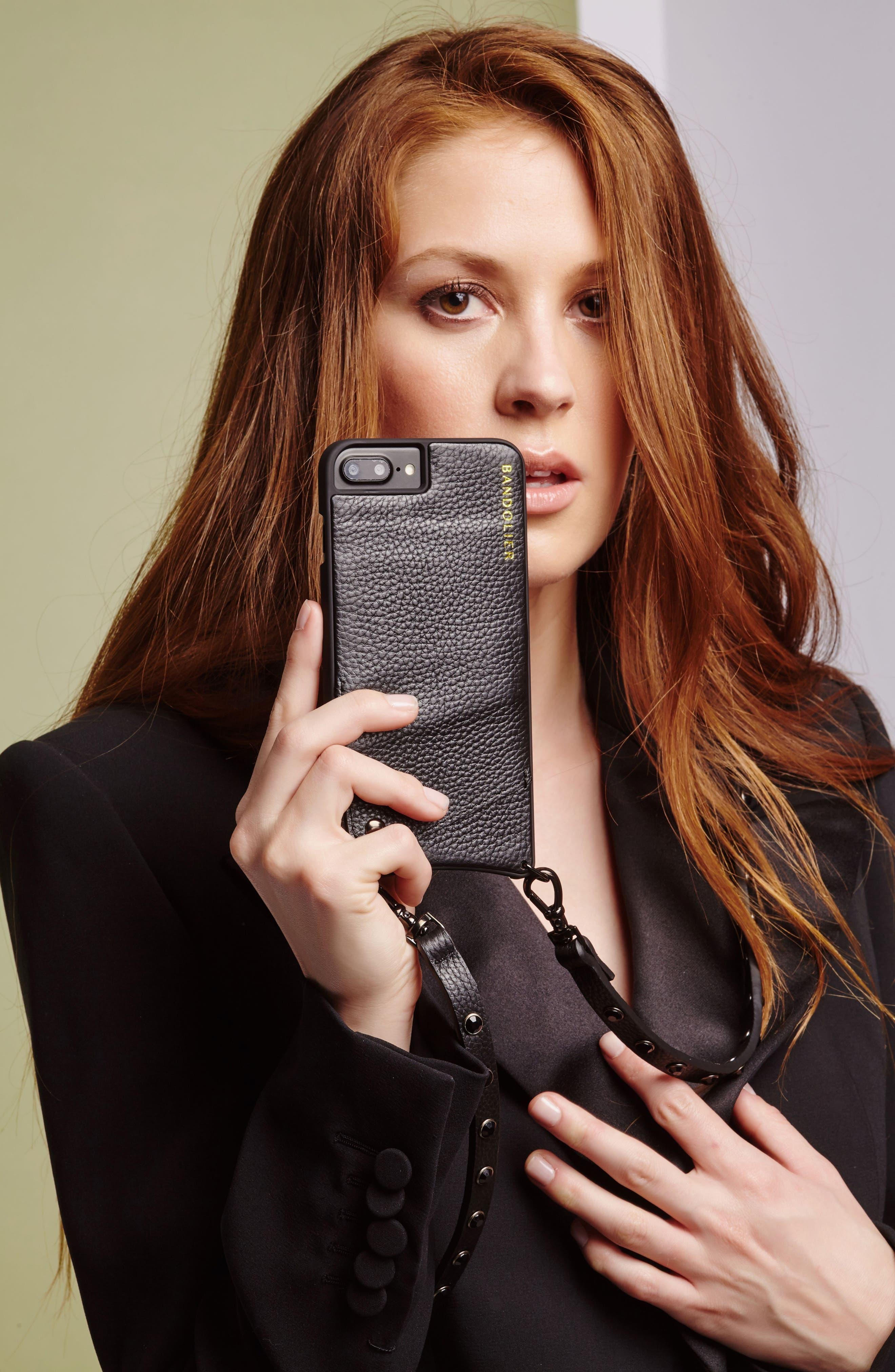 Jules Leather iPhone 6/7/8 & 6/7/8 Plus Crossbody Case,                             Alternate thumbnail 2, color,                             Black/ Pewter