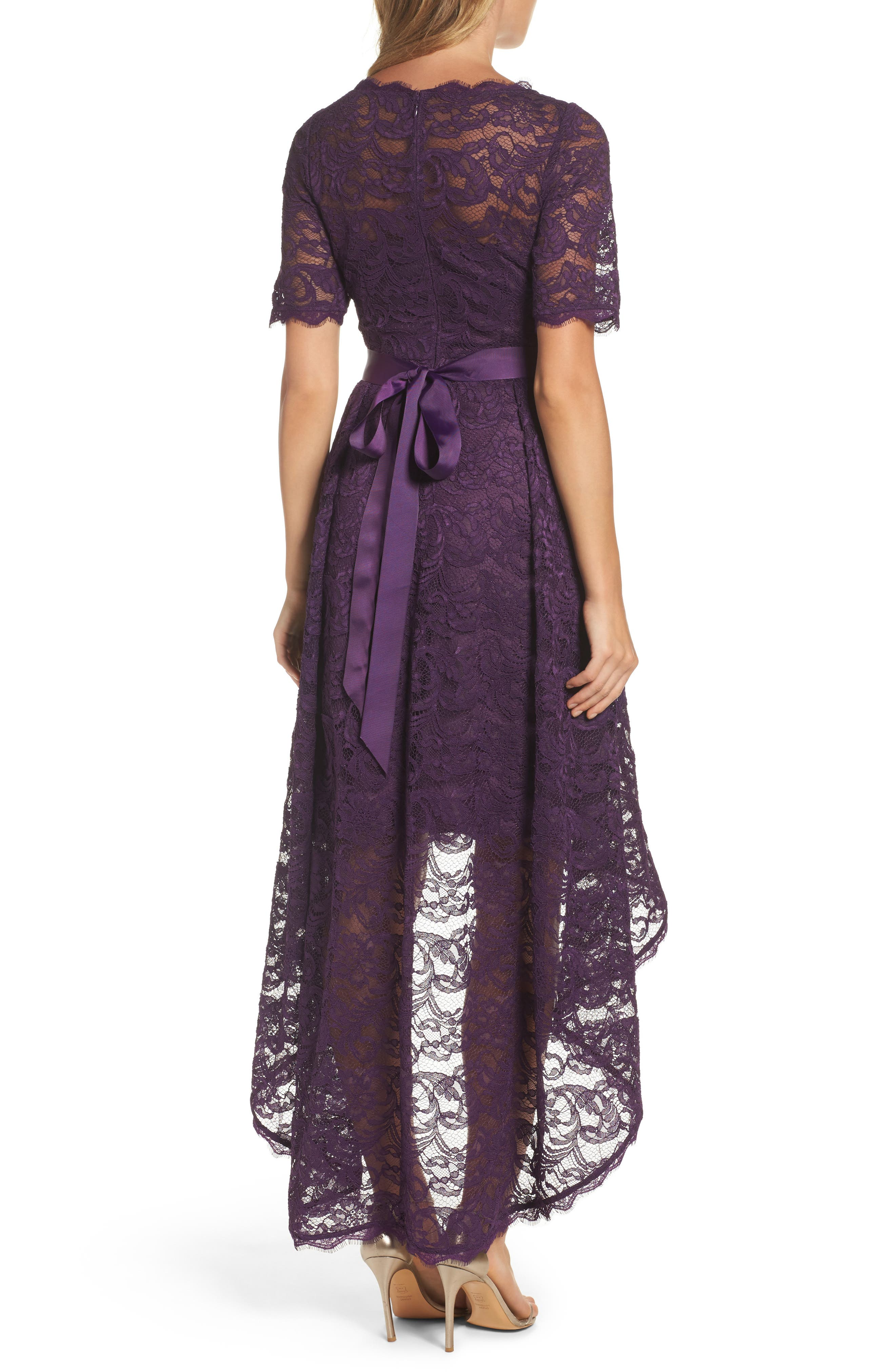 Alternate Image 2  - Adrianna Papell High/Low Lace Dress