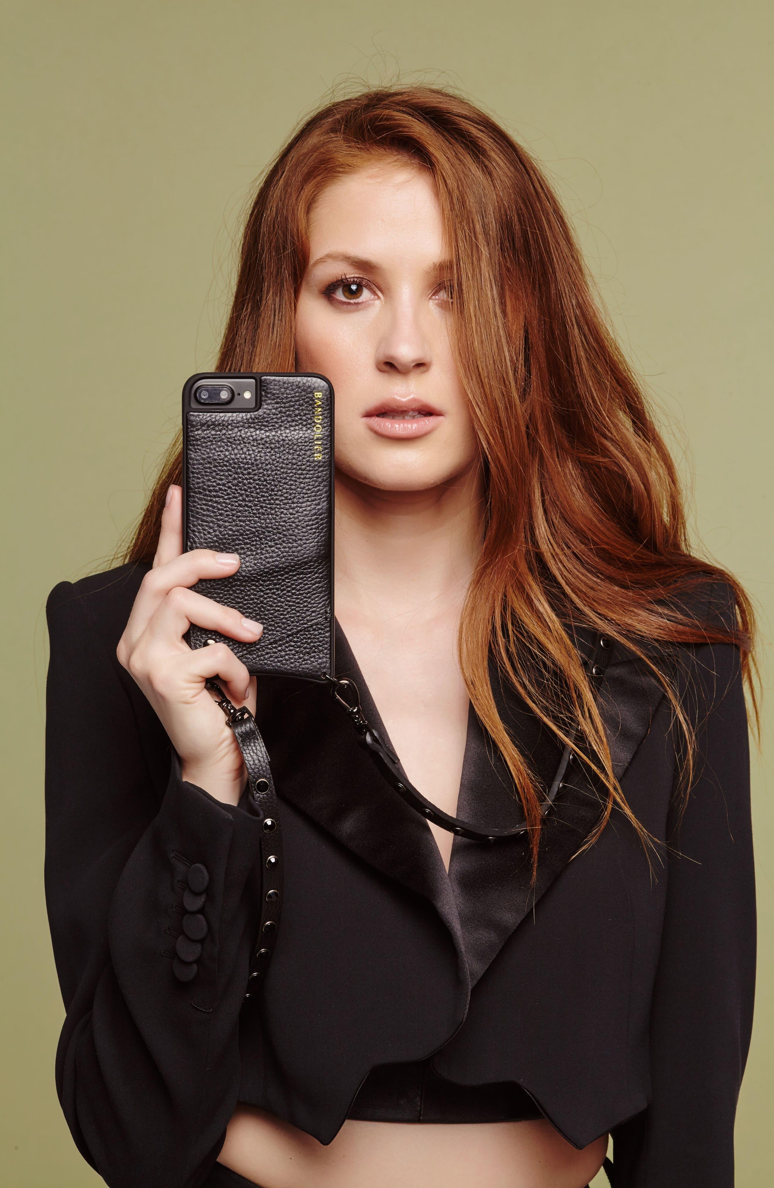 Jules Leather iPhone 6/7/8 & 6/7/8 Plus Crossbody Case,                             Alternate thumbnail 9, color,                             Black/ Pewter