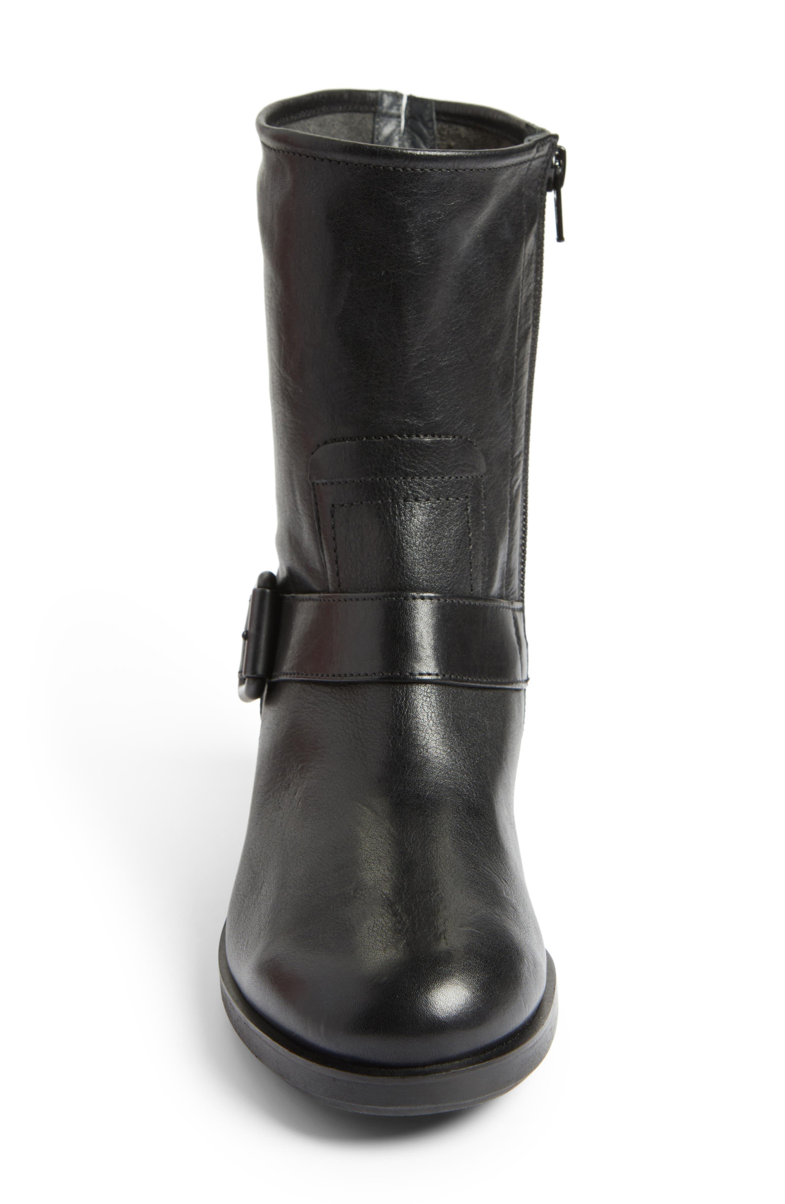 Nixon Moto Boot,                             Alternate thumbnail 4, color,                             Black Leather