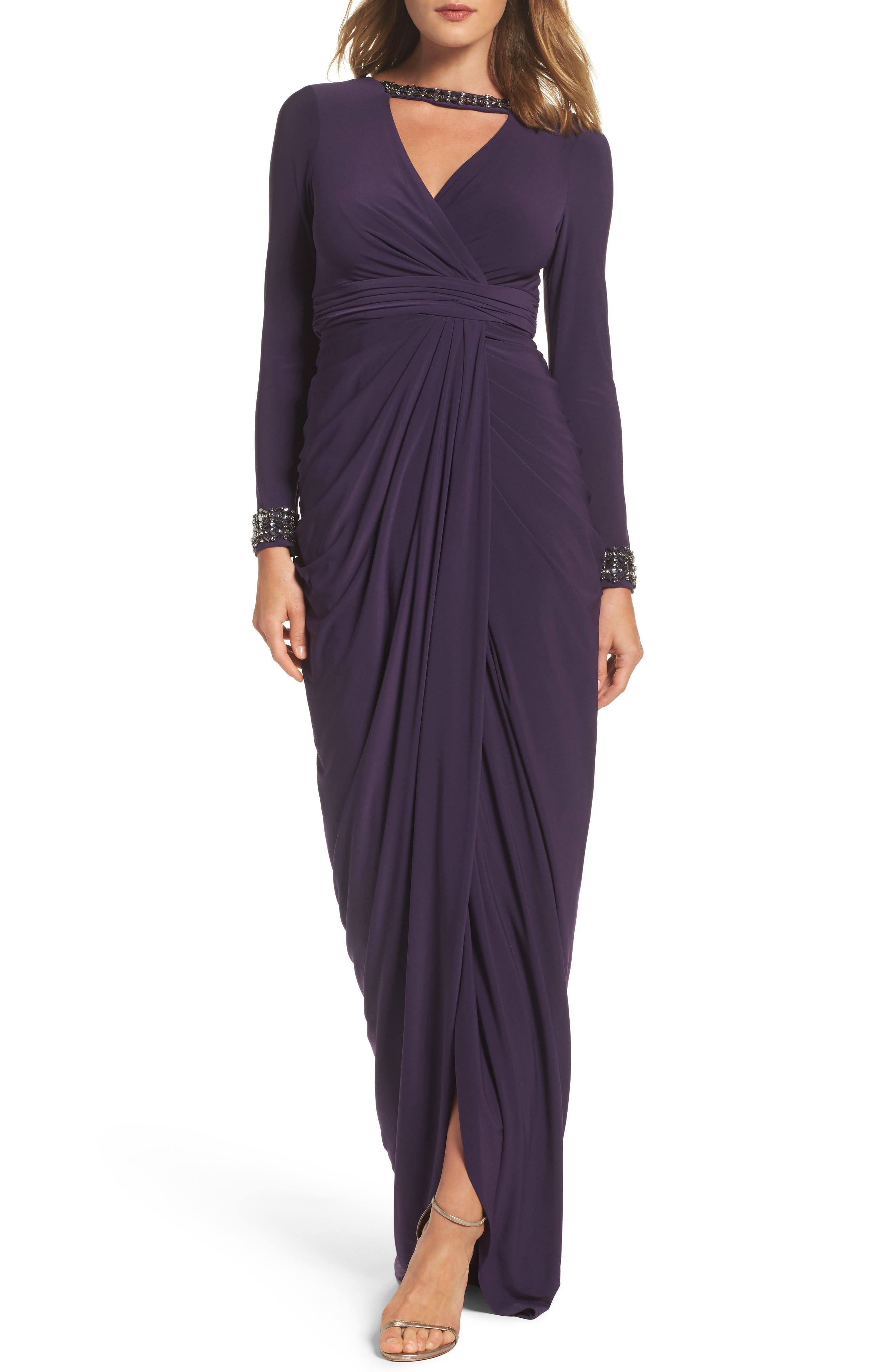 Beaded Jersey Gown,                         Main,                         color, Aubergine