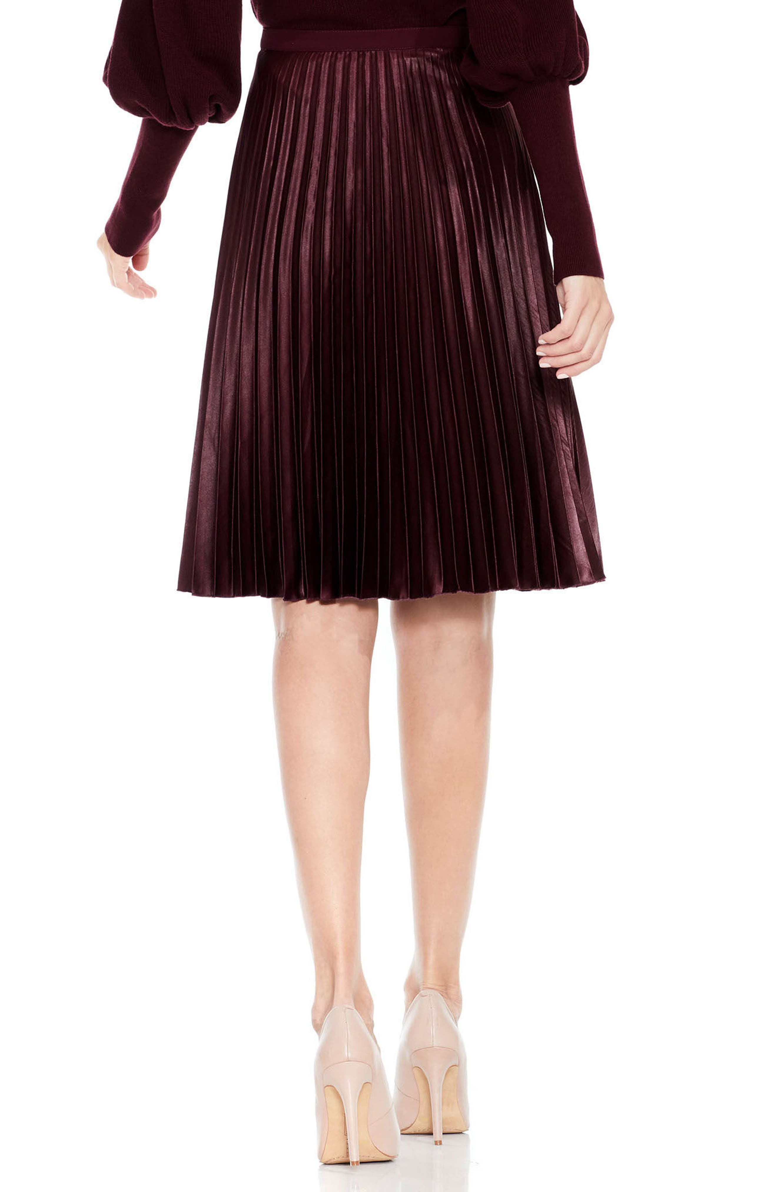 Lacquered Pleated Skirt,                             Alternate thumbnail 4, color,                             Deep Claret