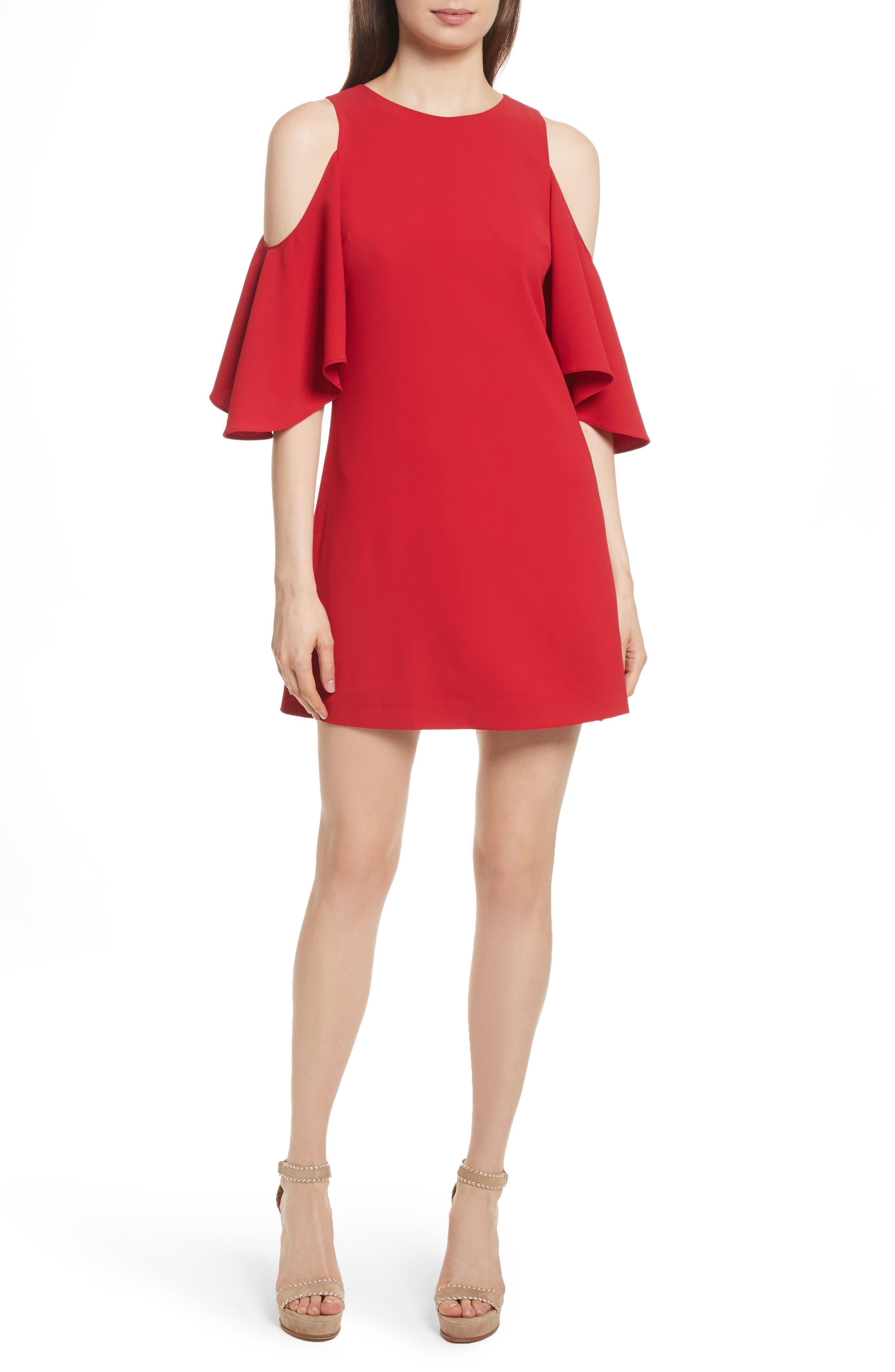 Alice + Olivia Coley Cold Shoulder A-Line Dress