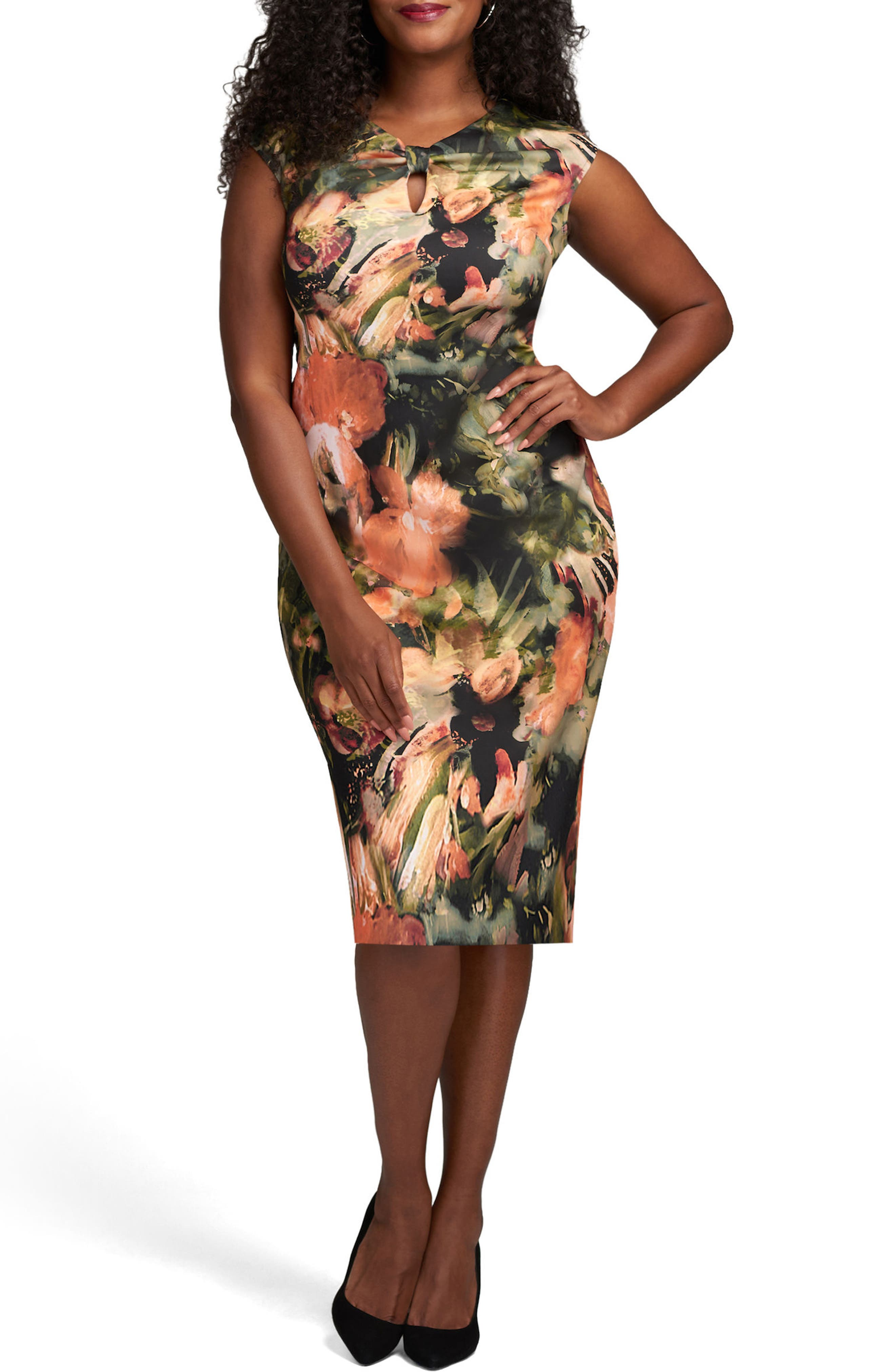 Tie Neck Scuba Sheath Dress,                             Main thumbnail 1, color,                             Coral