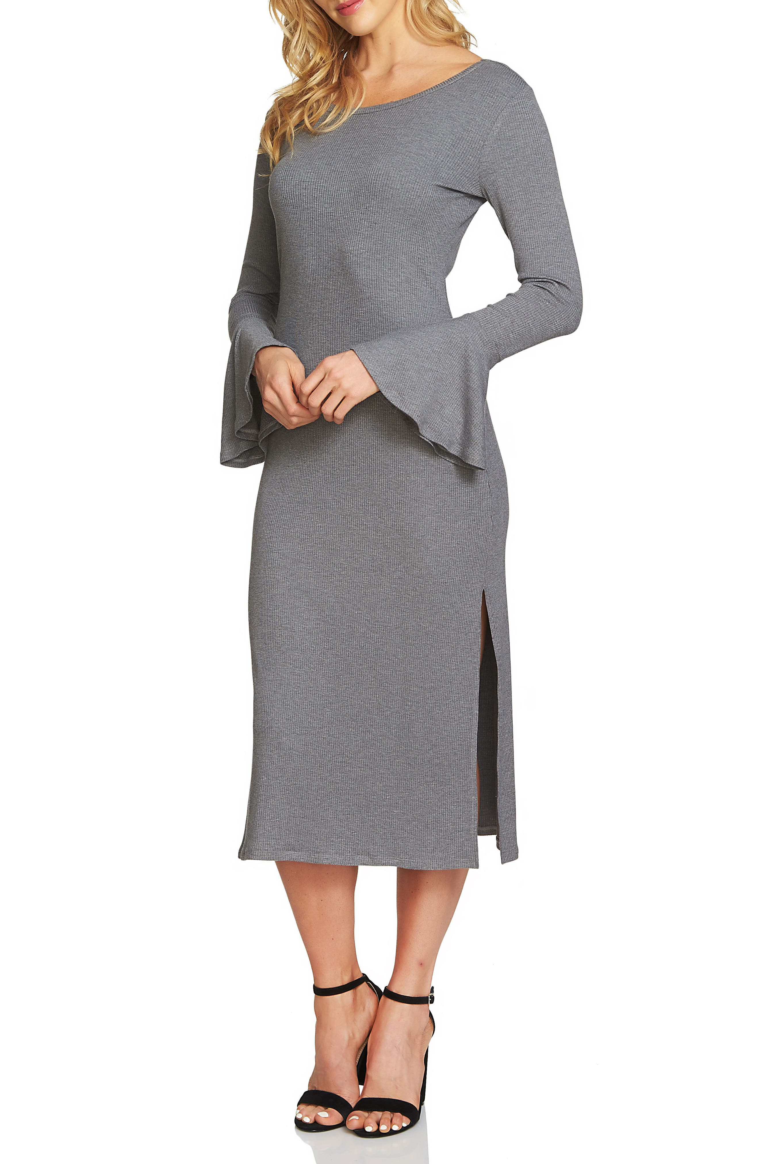 Bell Sleeve Midi Dress,                             Main thumbnail 1, color,                             Pewter Heather