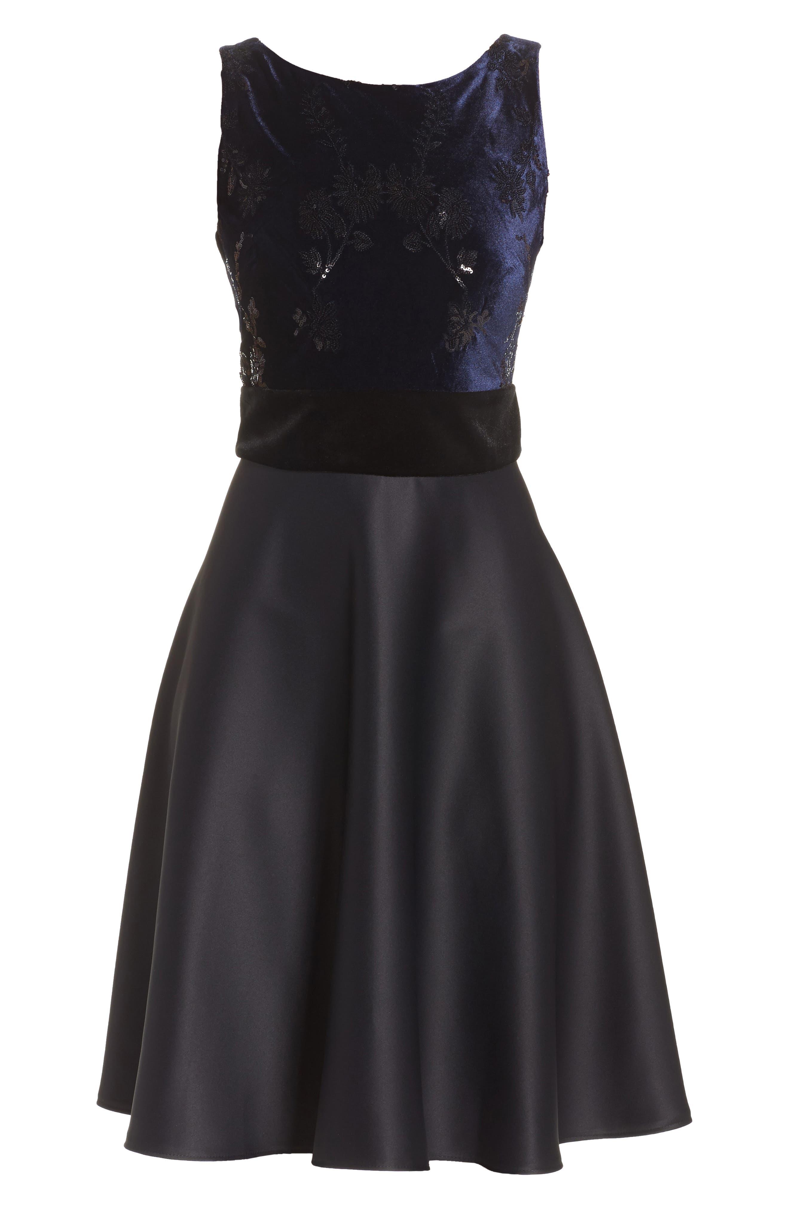 Fit & Flare Dress,                             Alternate thumbnail 6, color,                             Navy Black