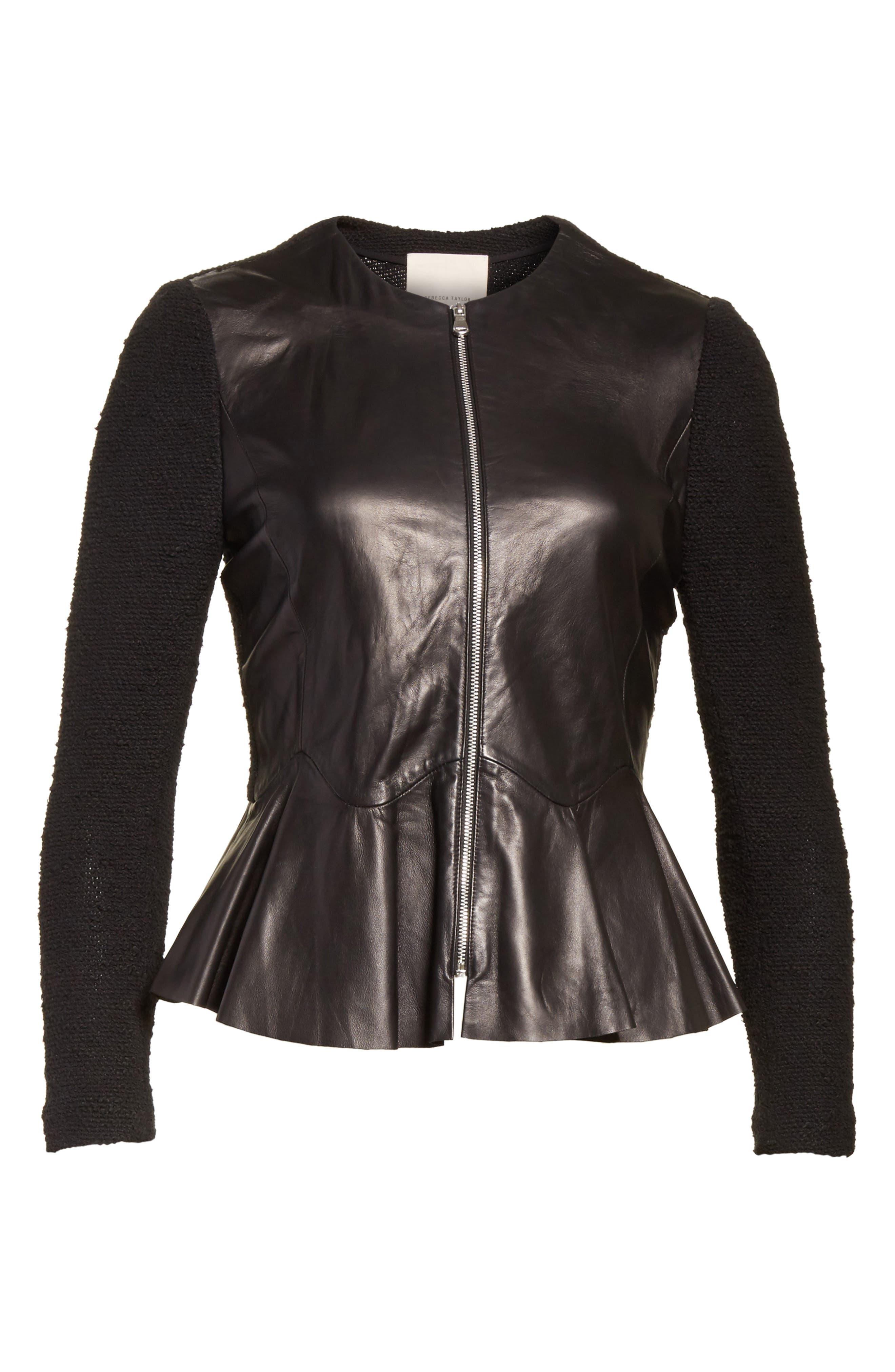 Knit & Lambskin Leather Jacket,                             Alternate thumbnail 6, color,                             Black