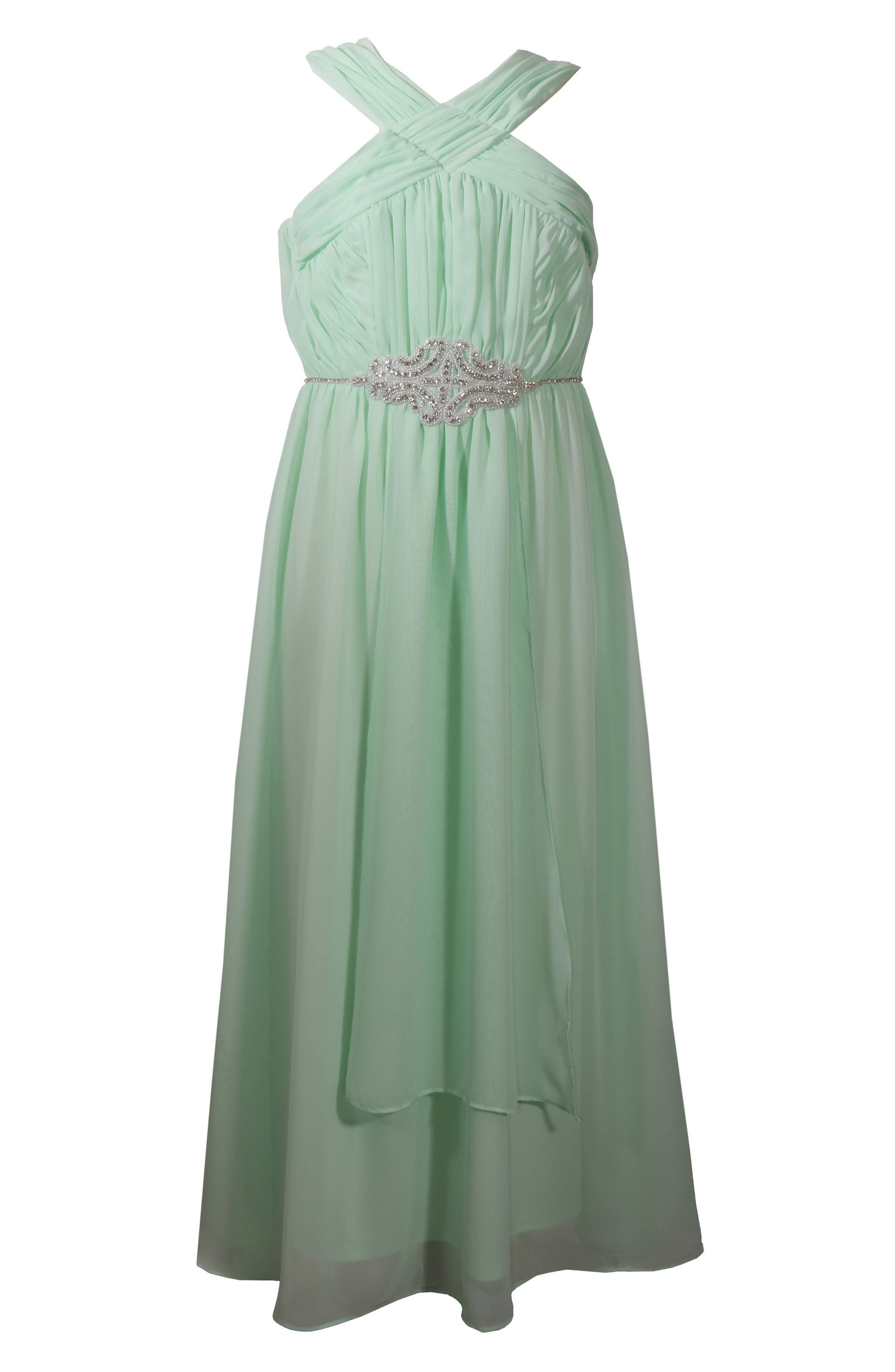 Sleeveless Chiffon Dress,                         Main,                         color, Mint
