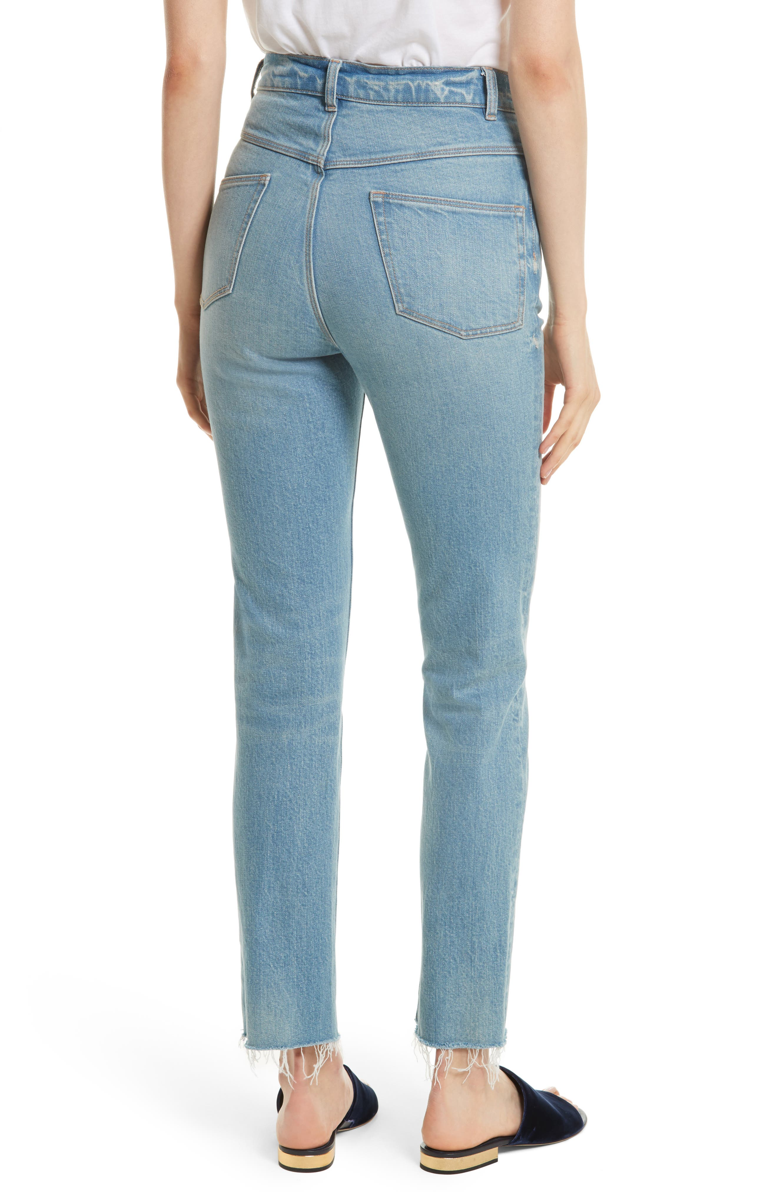 Alternate Image 2  - La Vie Rebecca Taylor Ines High Waist Ankle Jeans (Bluebell)