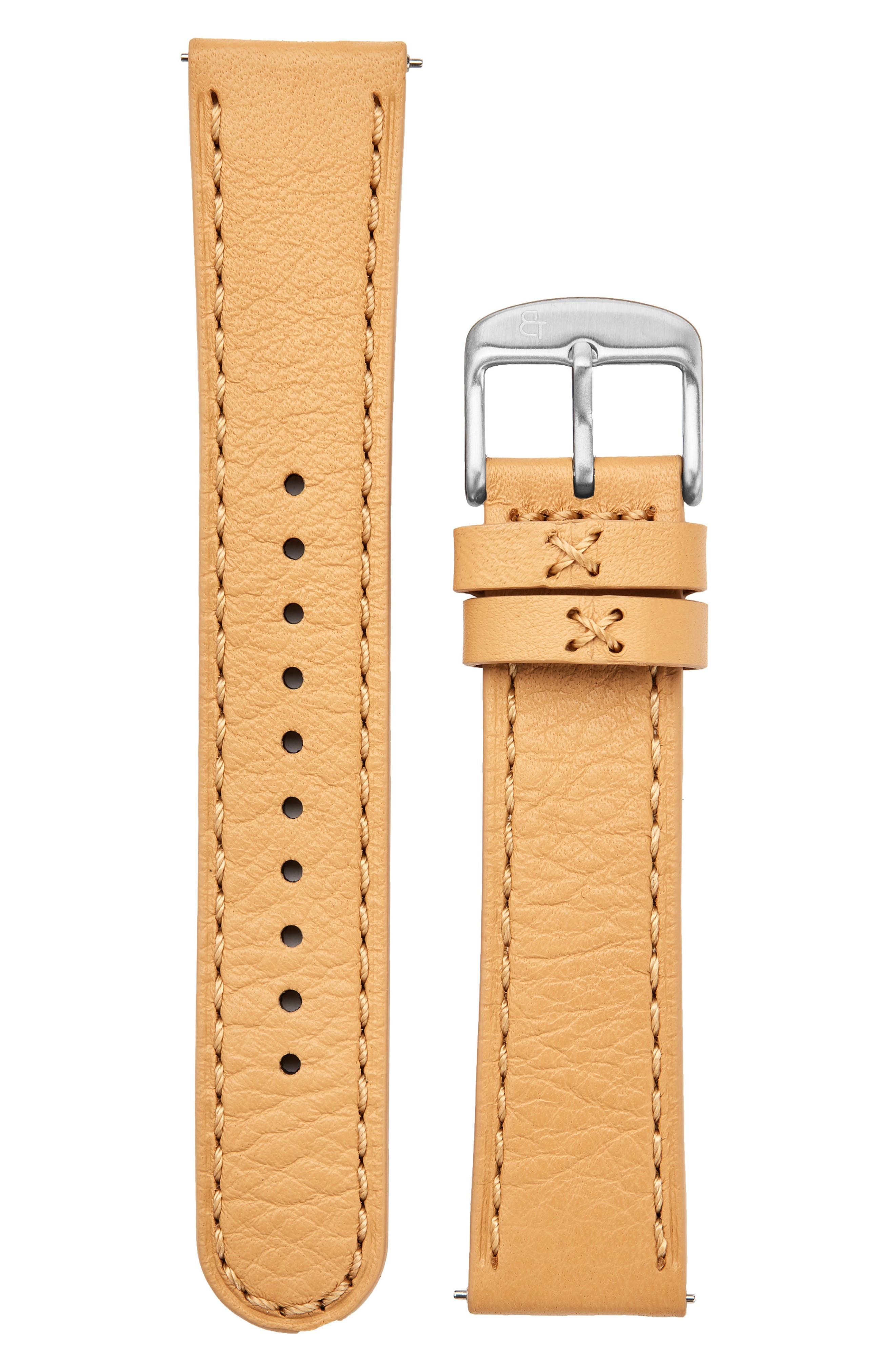 Leather Watch Strap, 20mm,                         Main,                         color, Tan