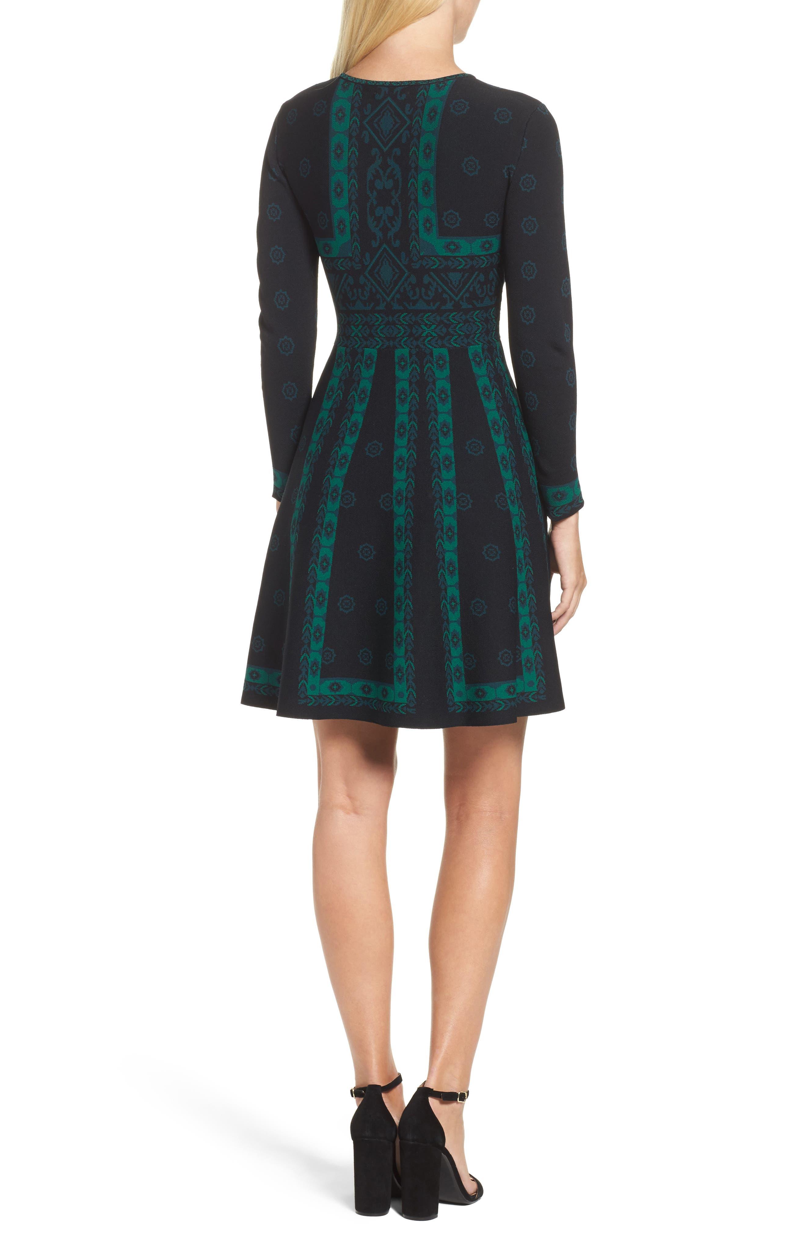 Pattern Double-Knit Fit & Flare Dress,                             Alternate thumbnail 2, color,                             Multi