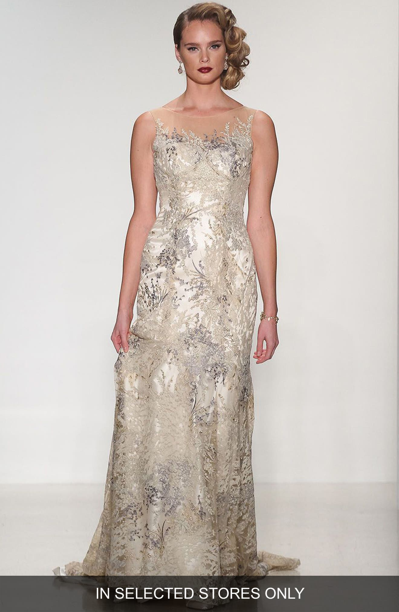 Thyme Sleeveless Illusion Embroidered Lace Gown,                         Main,                         color, Champagne/Offwhite