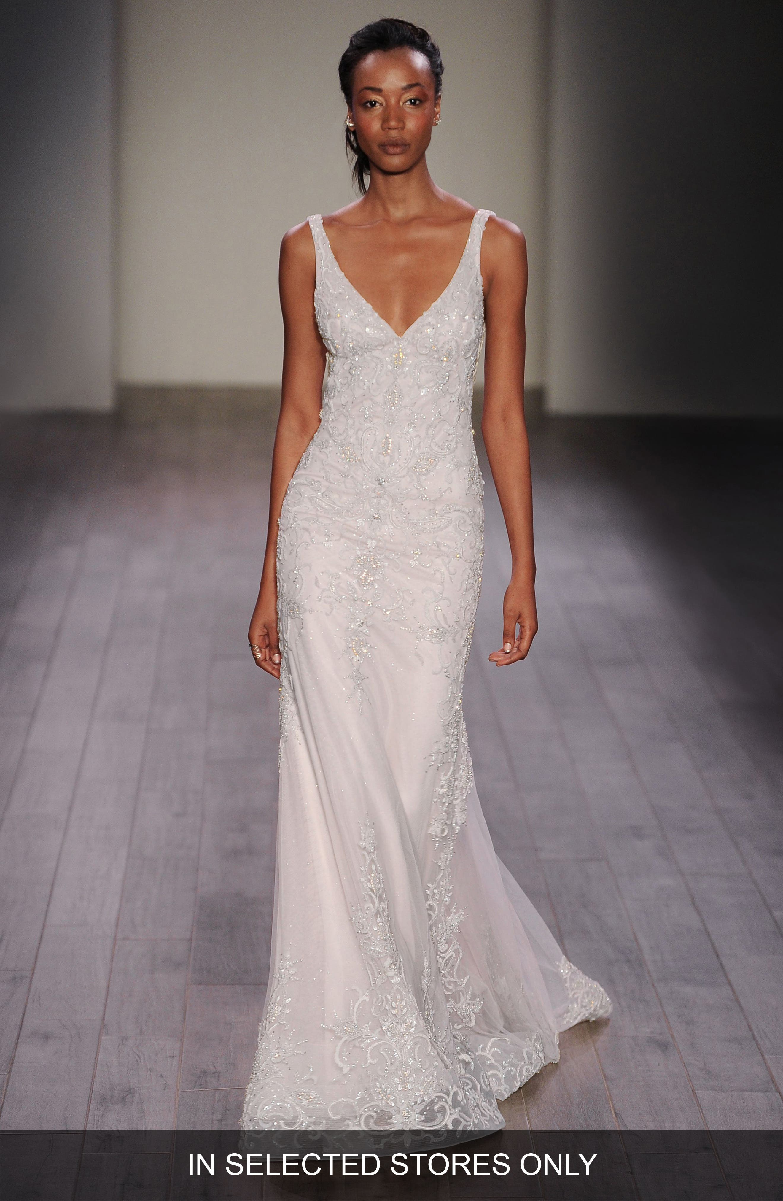 Beaded V-Neck Slip Gown,                         Main,                         color, Ivory Cashmere