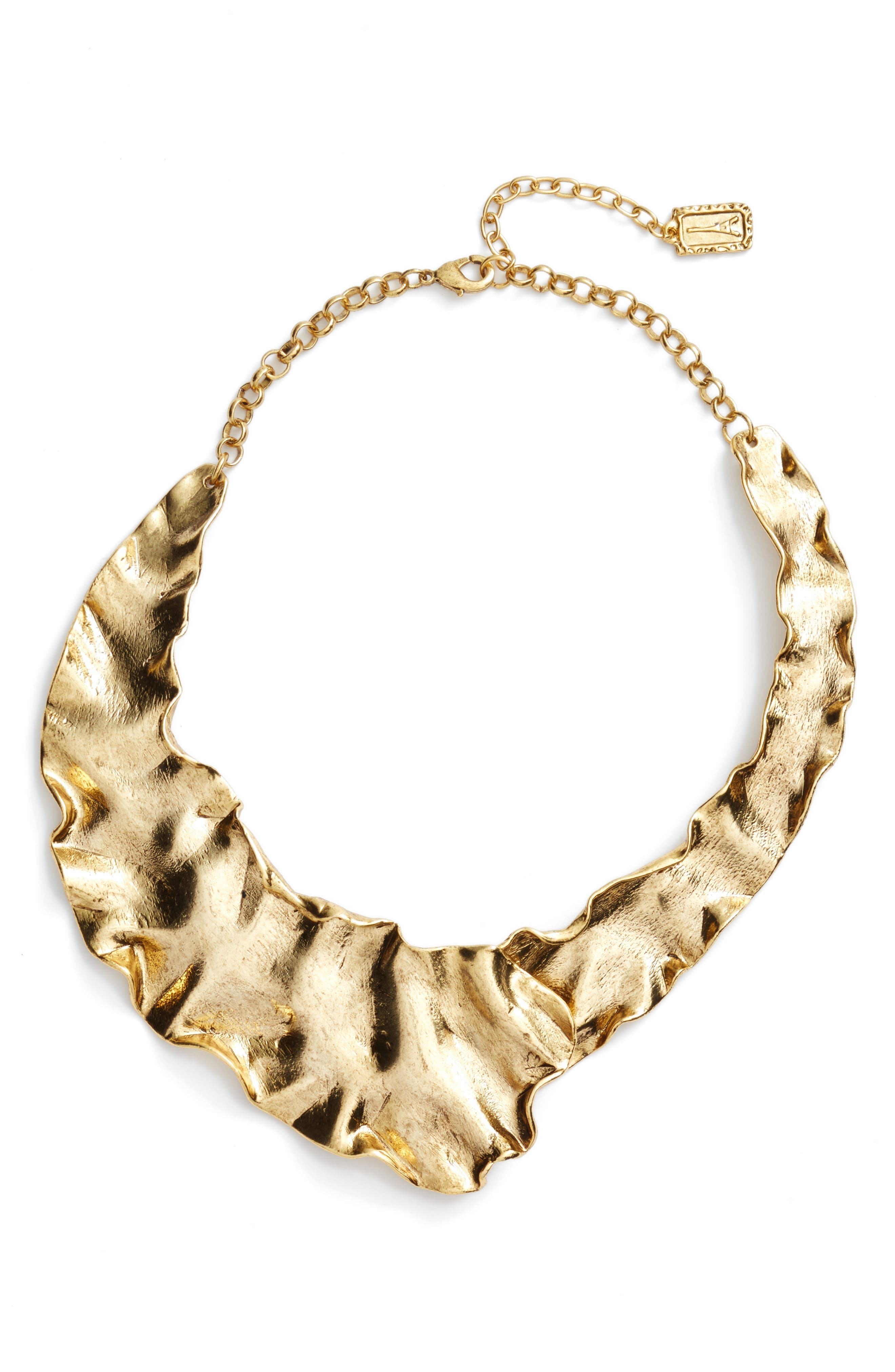Gold Plate Collar Necklace,                         Main,                         color, Gold