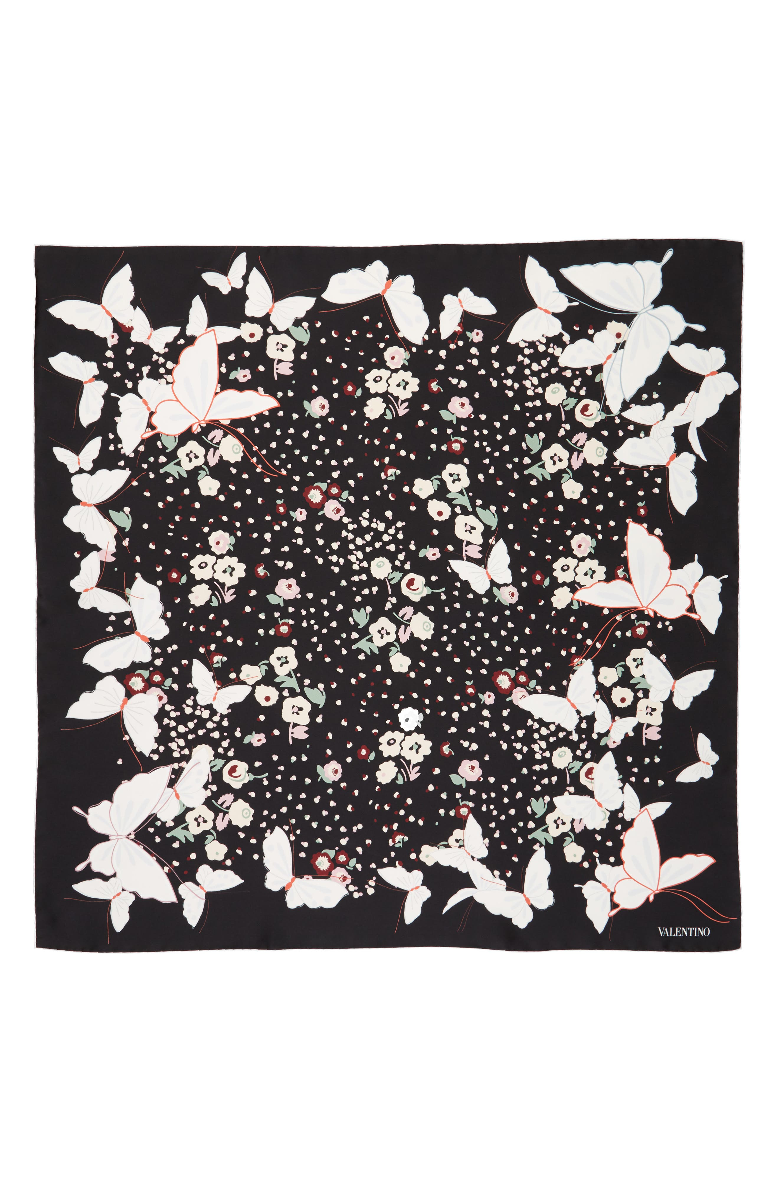 Butterfly Silk Scarf,                         Main,                         color, Nero