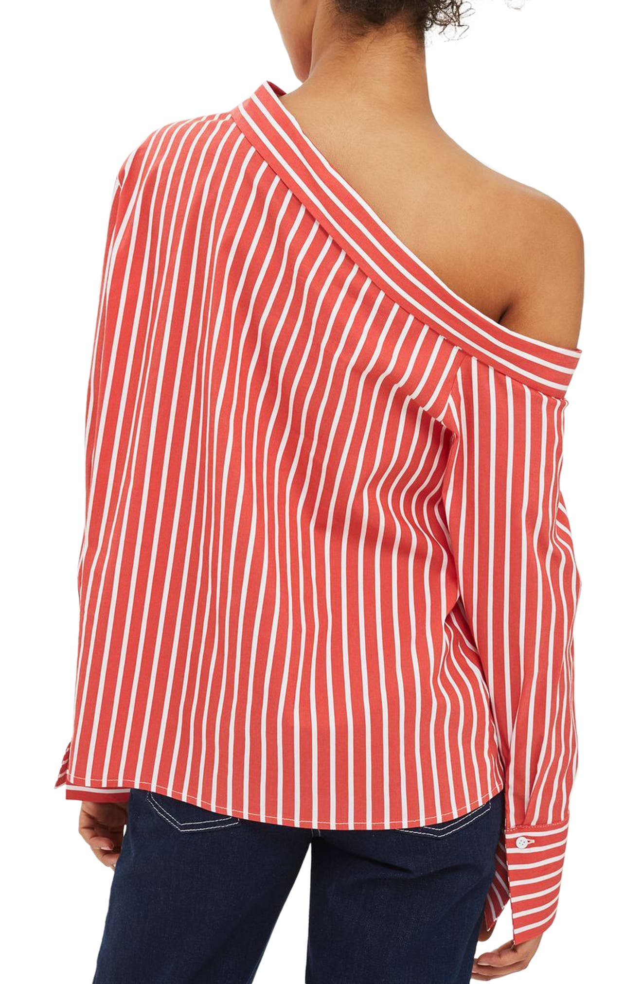 Alternate Image 3  - Topshop Stripe Off the Shoulder Top (Regular & Petite)