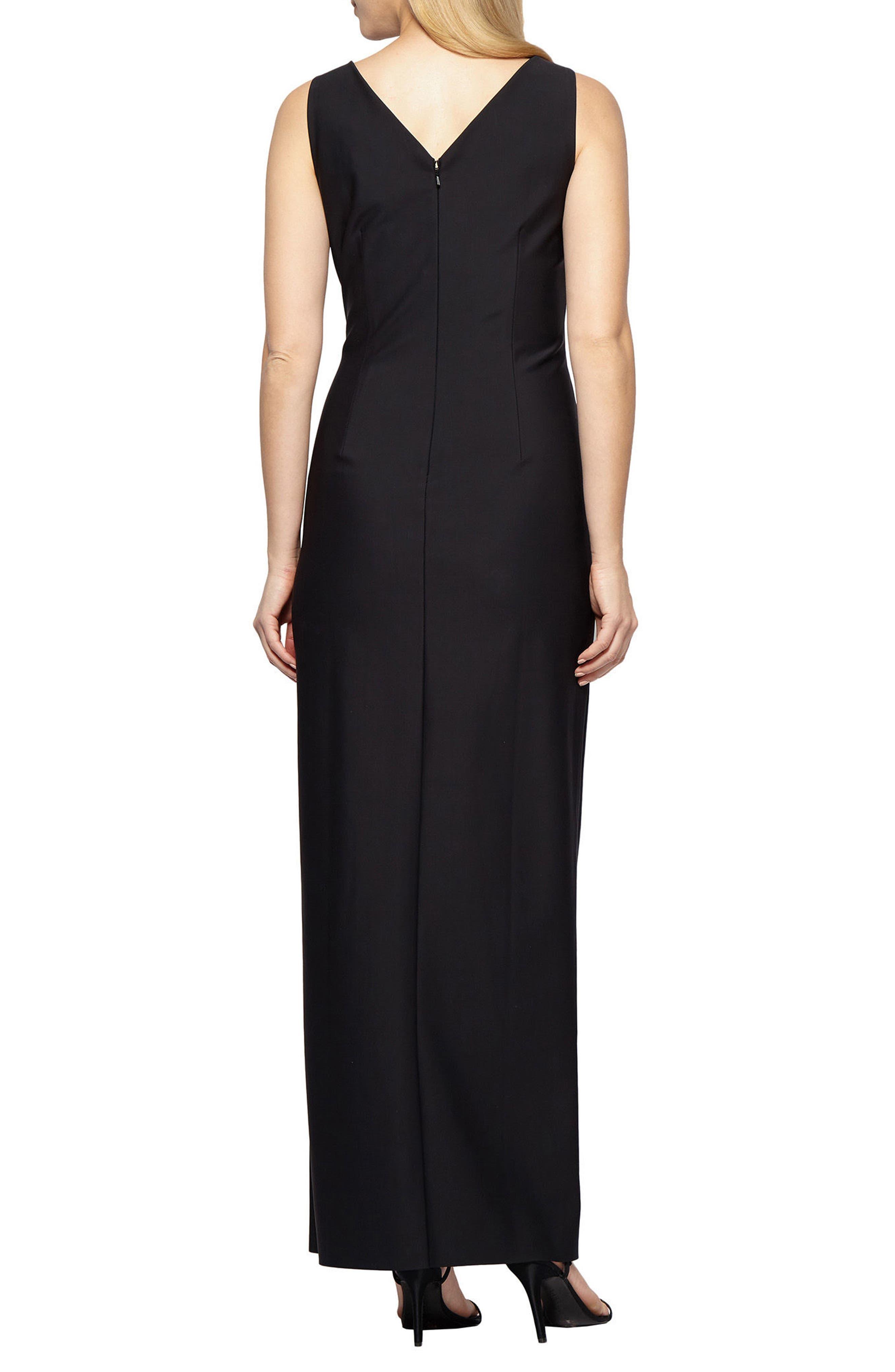 Alternate Image 2  - Alex Evenings Embellished Side Drape Column Gown (Regular & Petite)