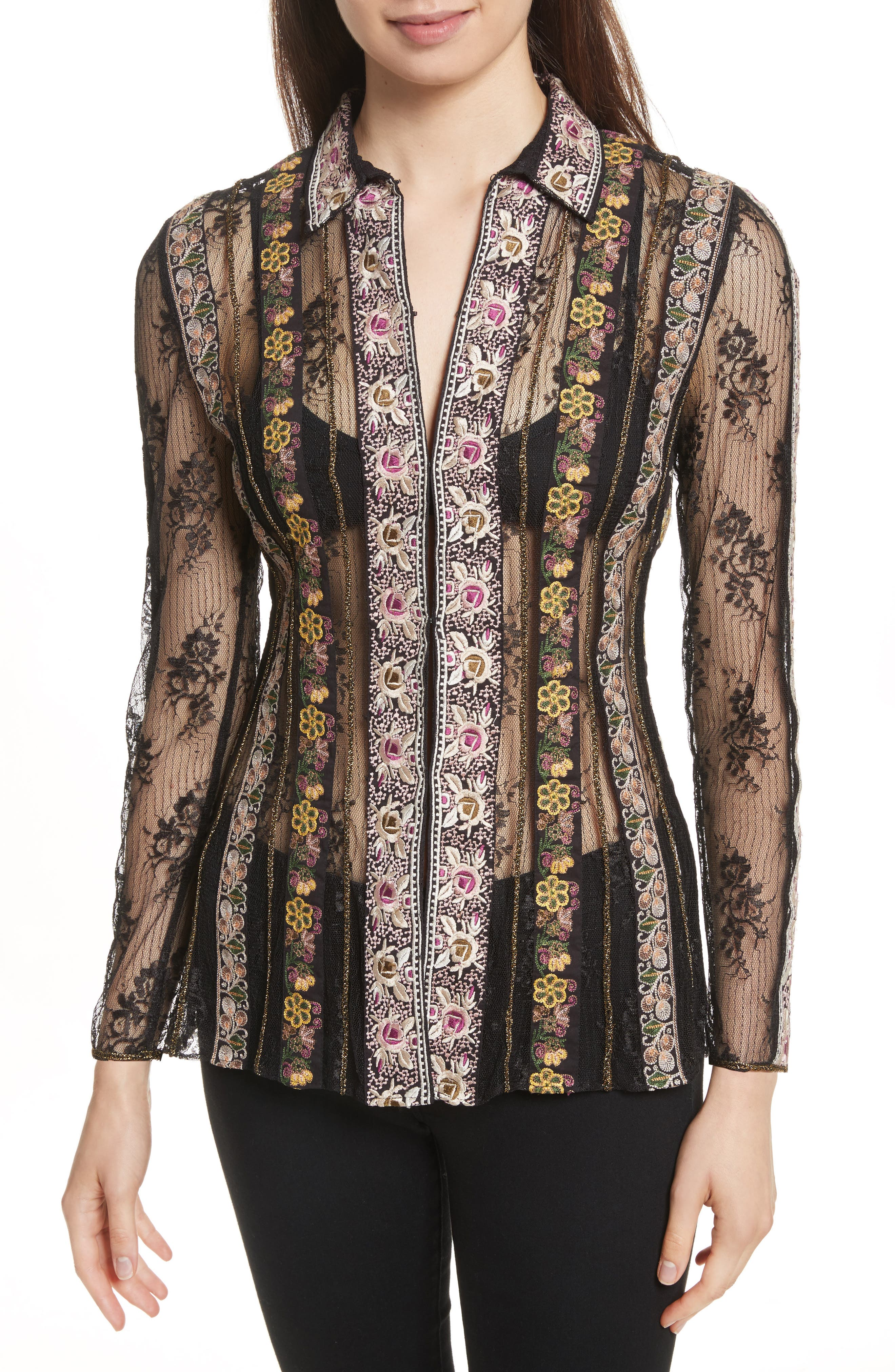 ALICE + OLIVIA Dalia Embroidered Lace Shirt