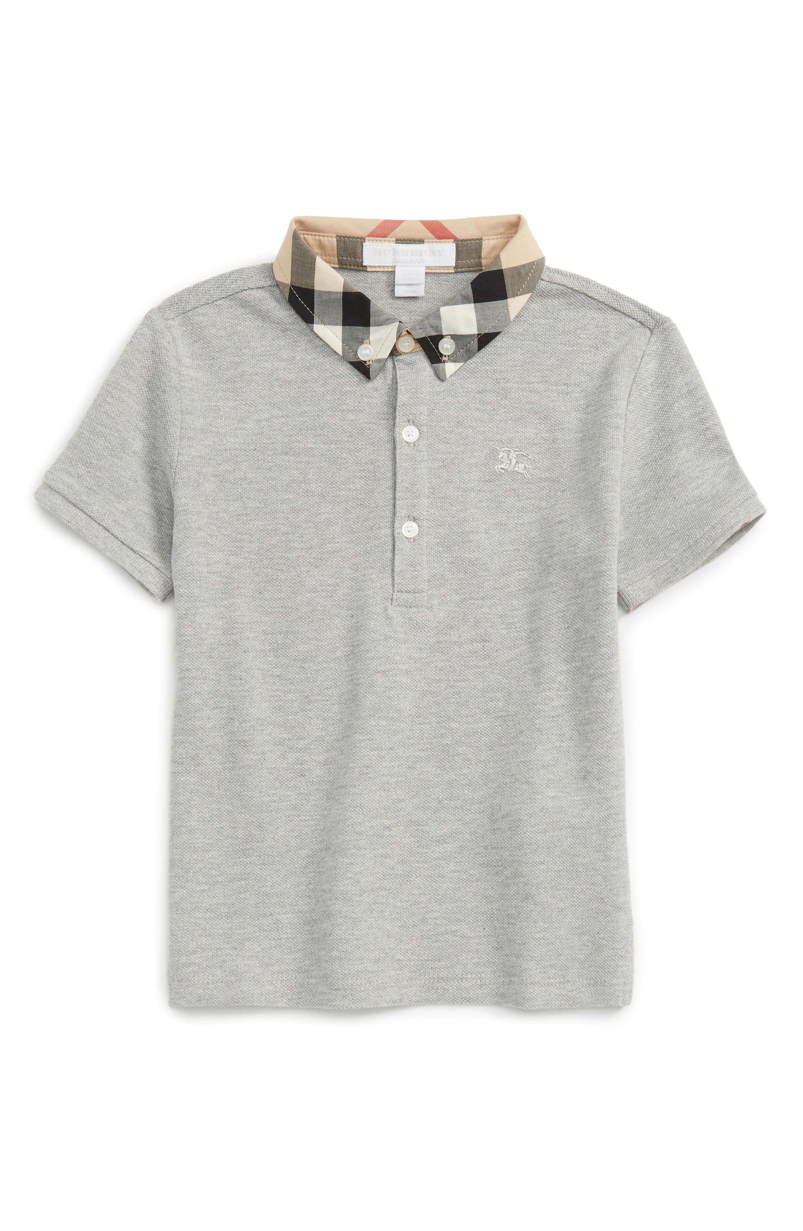 Check Collar Polo,                             Main thumbnail 1, color,                             Pale Grey Melange