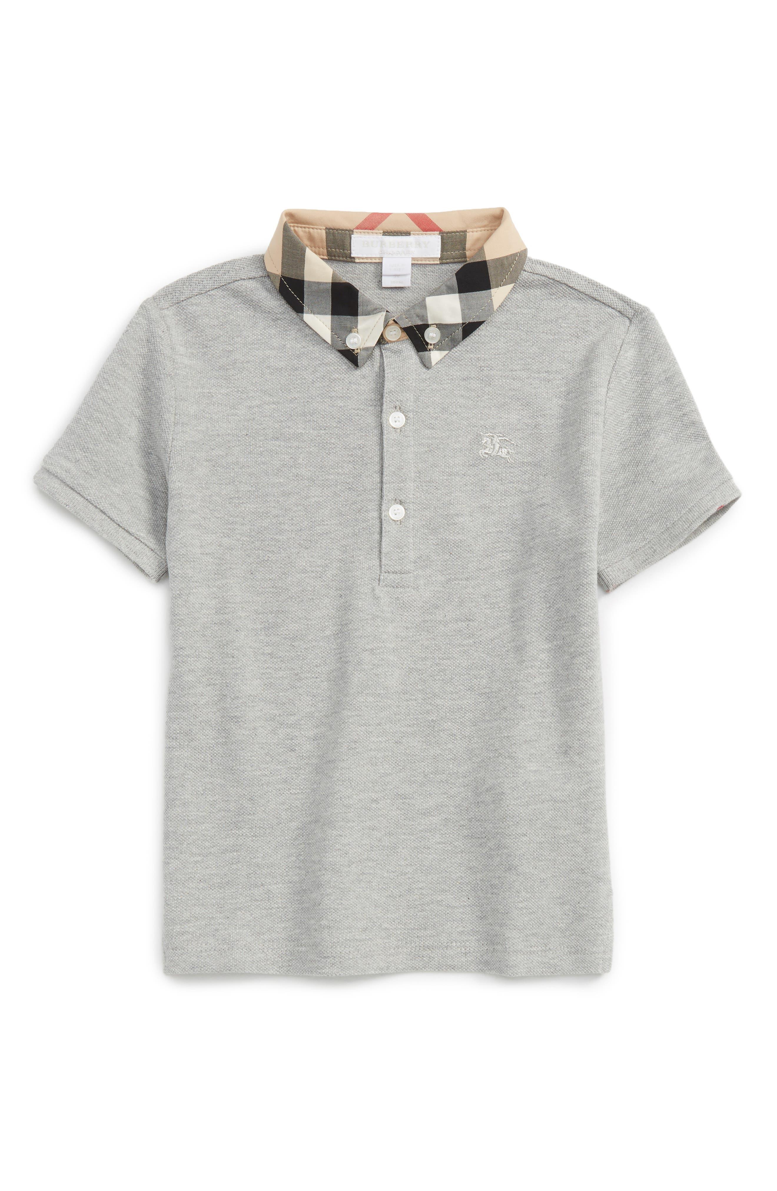 Main Image - Burberry Check Collar Polo (Baby Boys)