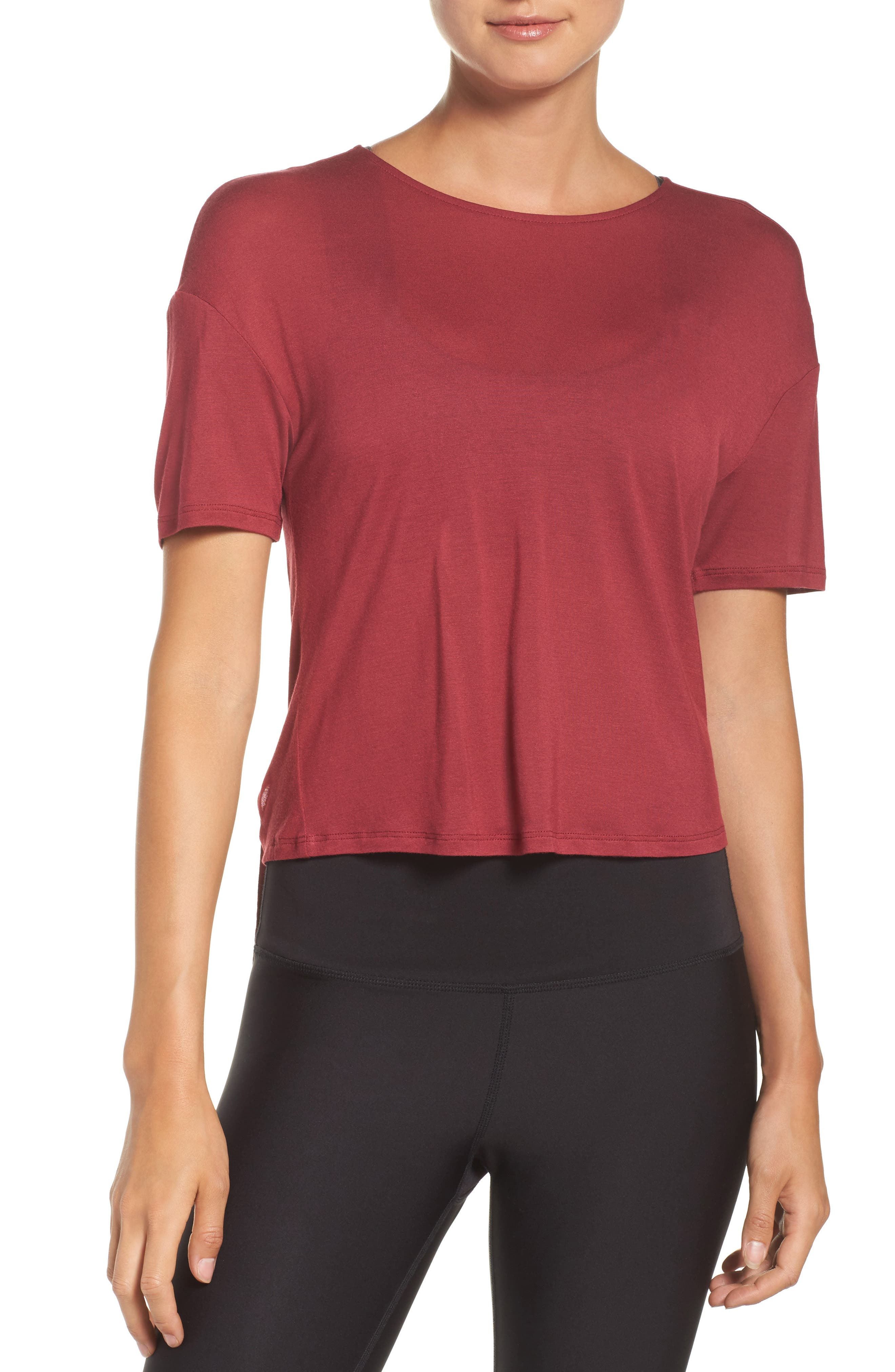 Entwine Crop Tee,                             Alternate thumbnail 2, color,                             Red Velvet