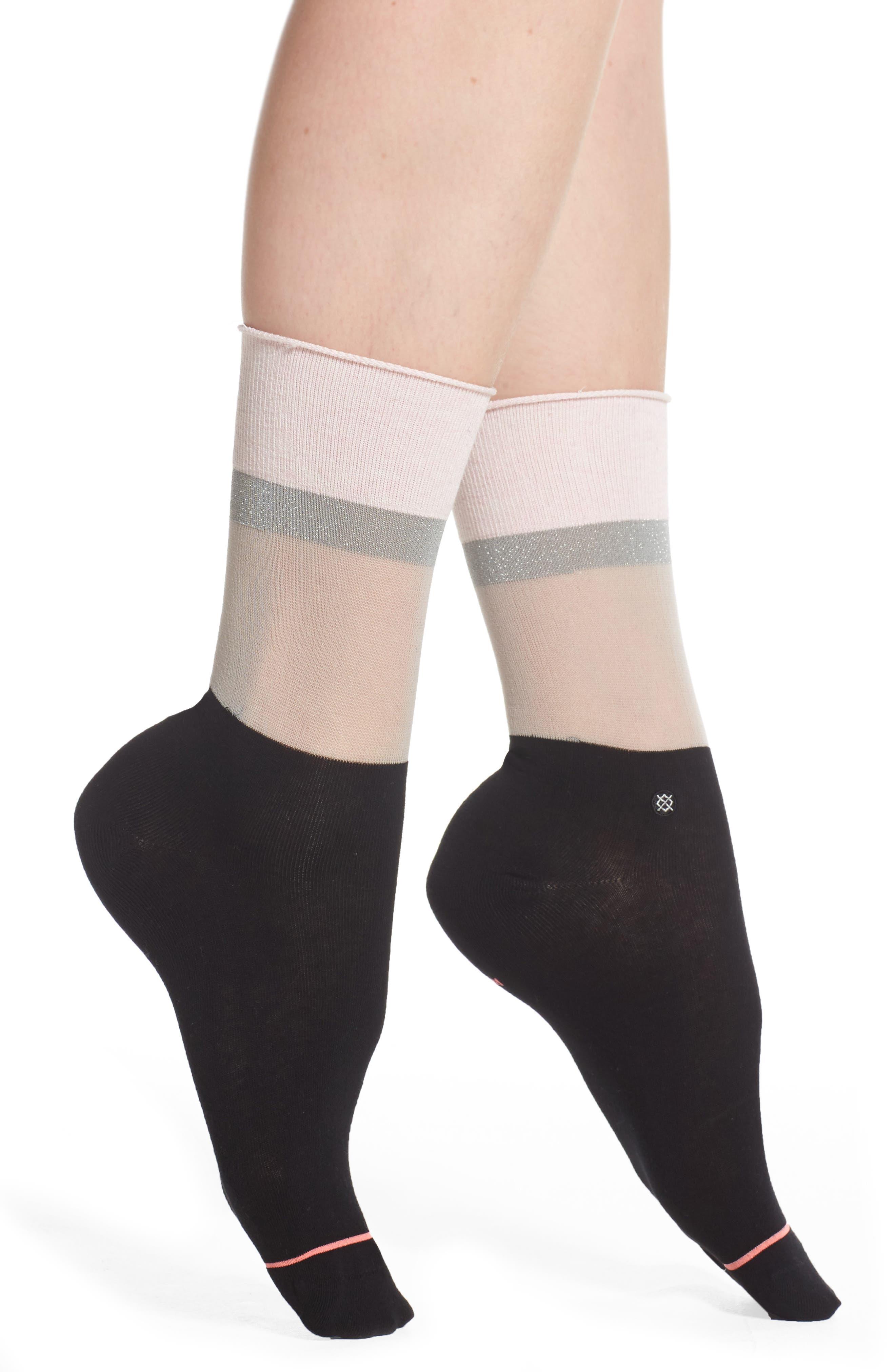 Cara Crew Socks,                         Main,                         color, Black